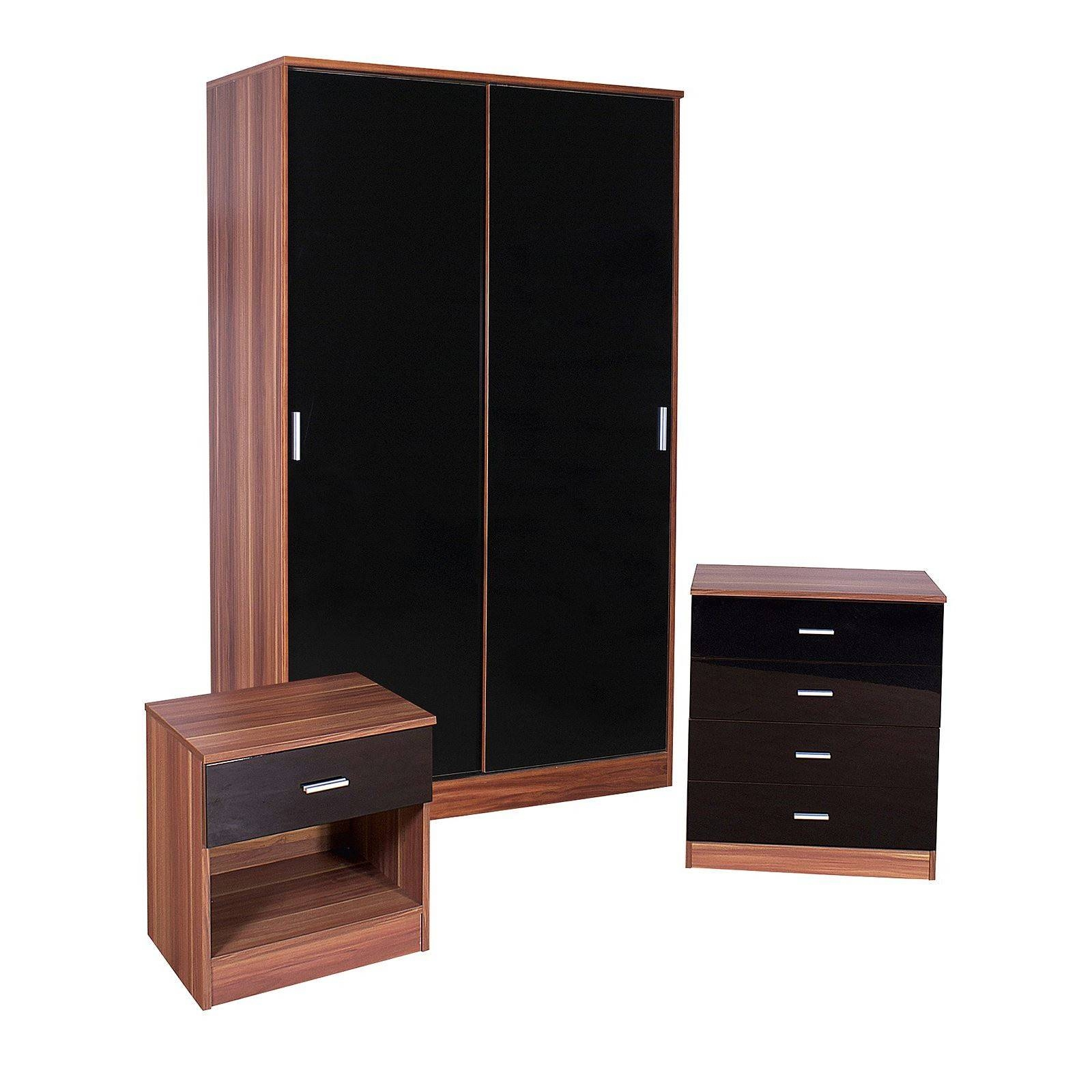Bedroom Furniture 3 Piece Set Black Gloss & Walnut Wardrobe regarding Wardrobes Sets (Image 3 of 15)