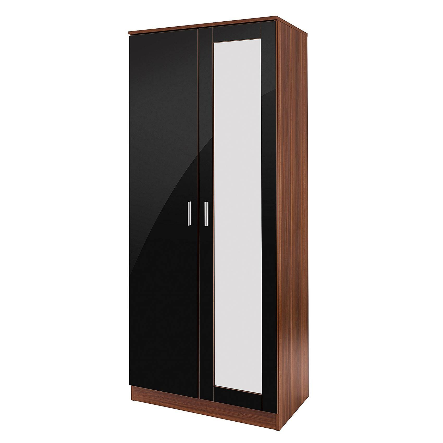 Bedroom Furniture 3 Piece Set Black Gloss & Walnut Wardrobe throughout 3 Door Black Gloss Wardrobes (Image 1 of 15)