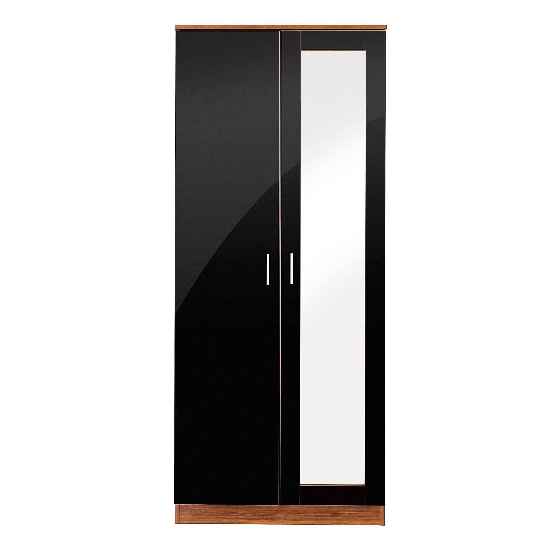Bedroom Furniture 3 Piece Set Black Gloss & Walnut Wardrobe throughout Black Gloss Wardrobes (Image 2 of 15)