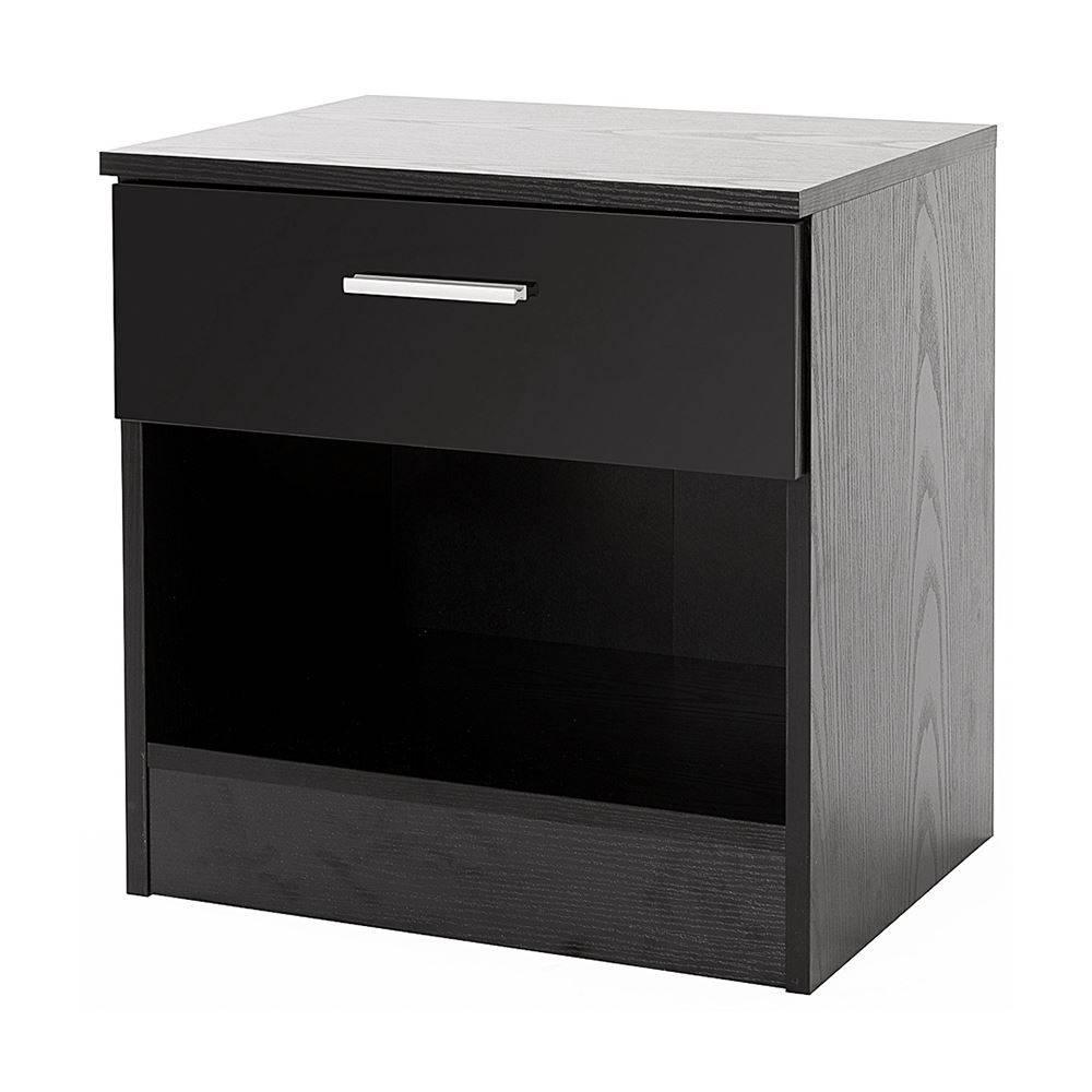 Bedroom Furniture 3 Piece Set Black Gloss Wardrobe Drawer Bedside in Black Gloss Wardrobes (Image 4 of 15)