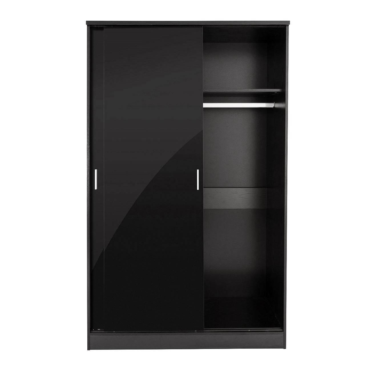 Bedroom Furniture 3 Piece Set Black Gloss Wardrobe Drawer Bedside intended for 3 Door Black Gloss Wardrobes (Image 2 of 15)