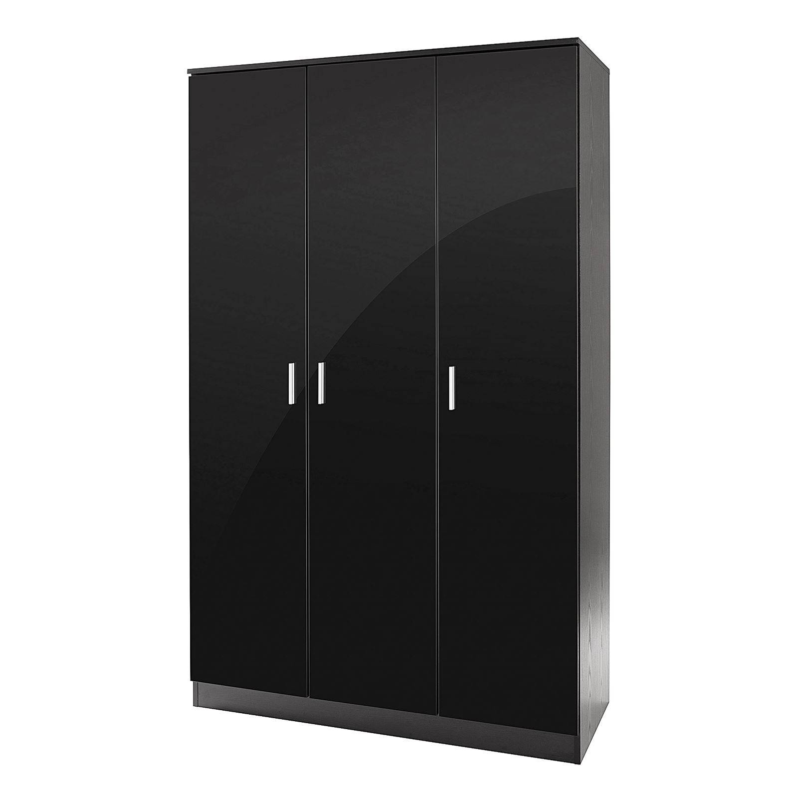 Bedroom Furniture 3 Piece Set Black Gloss Wardrobe Drawer Bedside pertaining to 3 Door Black Gloss Wardrobes (Image 3 of 15)