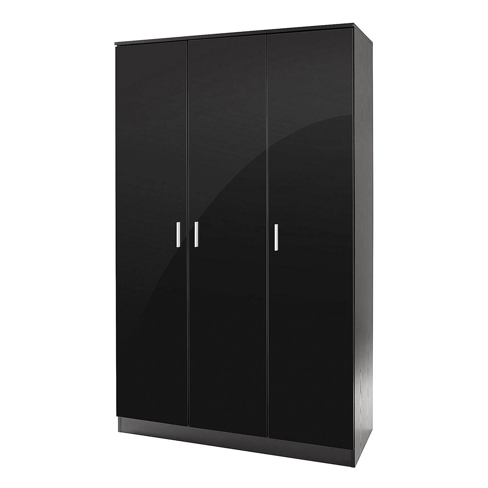 Bedroom Furniture 3 Piece Set Black Gloss Wardrobe Drawer Bedside Pertaining To 3 Door Black Gloss Wardrobes (View 2 of 15)