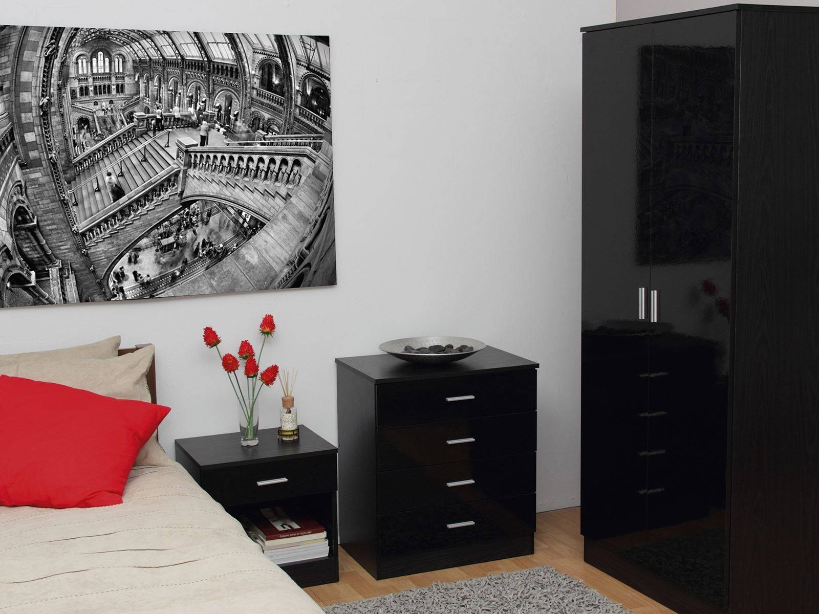 Bedroom Furniture 3 Piece Set Black Gloss Wardrobe Drawer Bedside within Black High Gloss Wardrobes (Image 2 of 15)