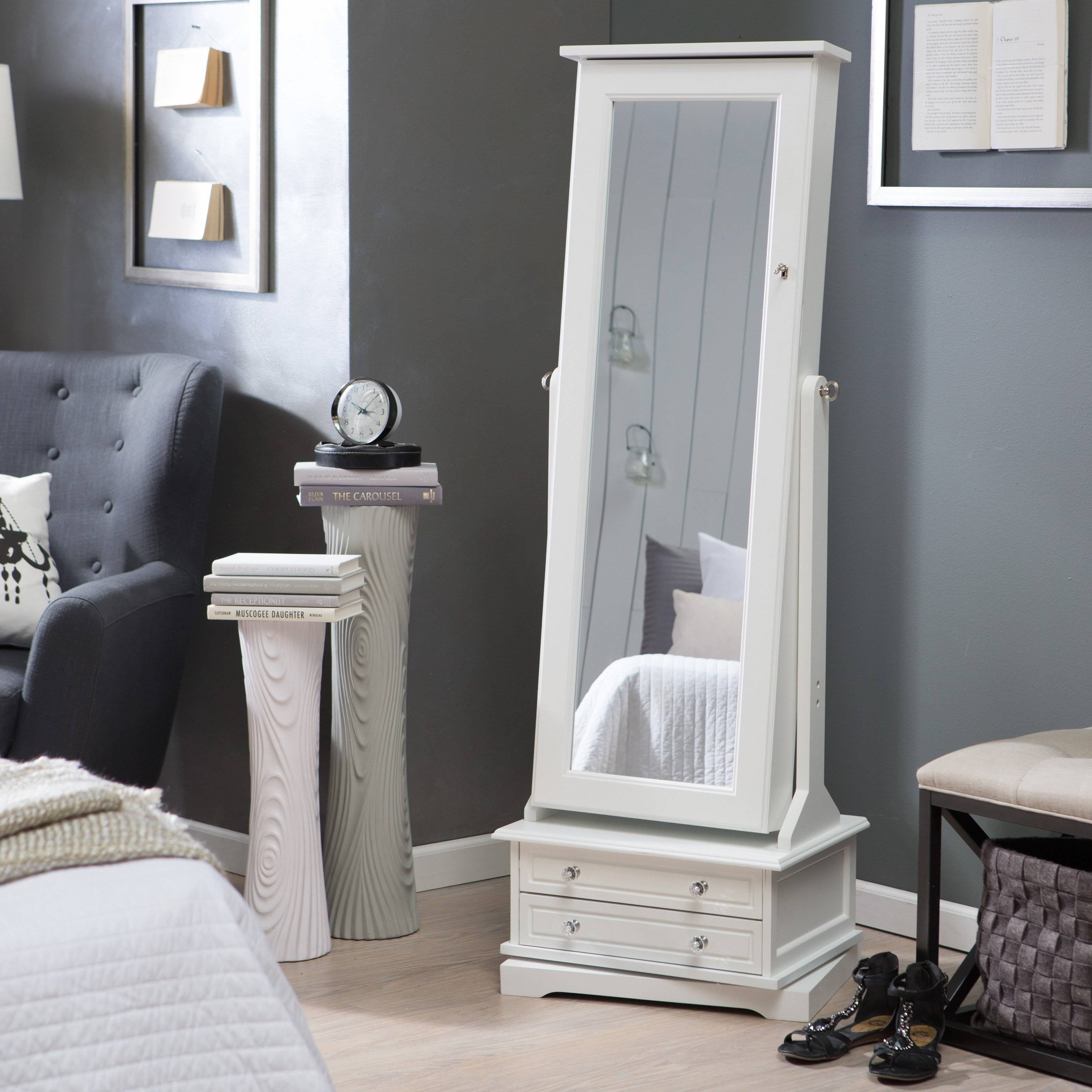 Bedroom Furniture : Dressing Table Mirror Cream Hidden Storage in Cream Standing Mirrors (Image 3 of 25)