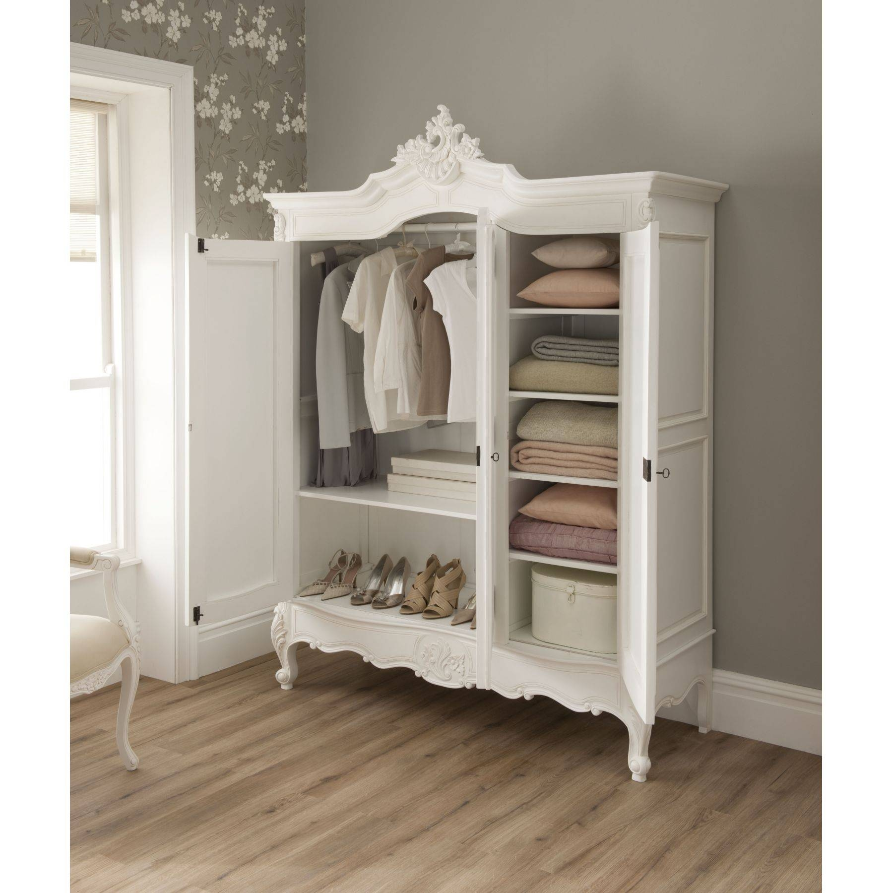 Bedroom Furniture : Green Corner Classic Armoire Wooden Vintage Inside White Vintage Wardrobes (View 15 of 15)