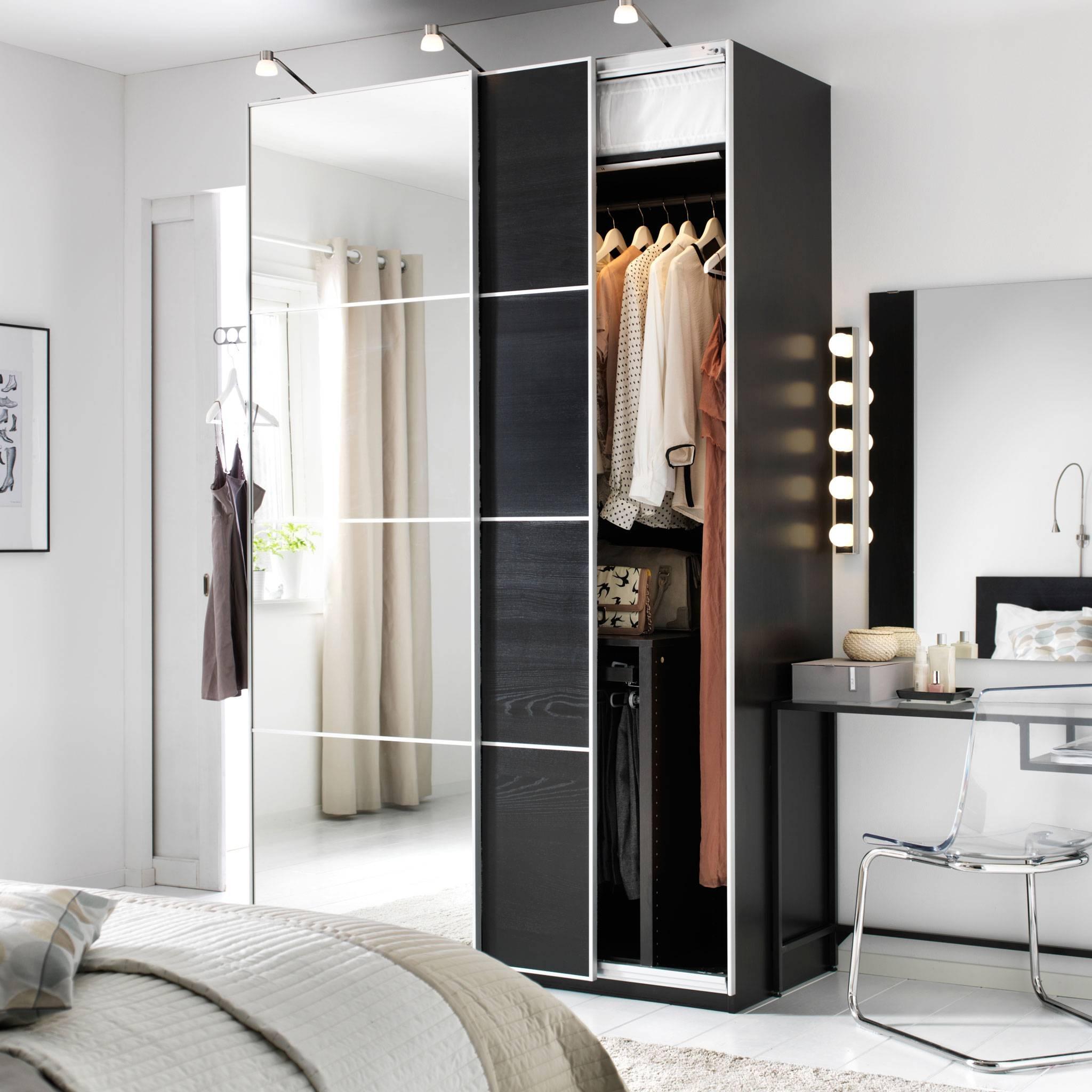 Bedroom Furniture & Ideas | Ikea within Dark Wood Wardrobe Doors (Image 3 of 30)