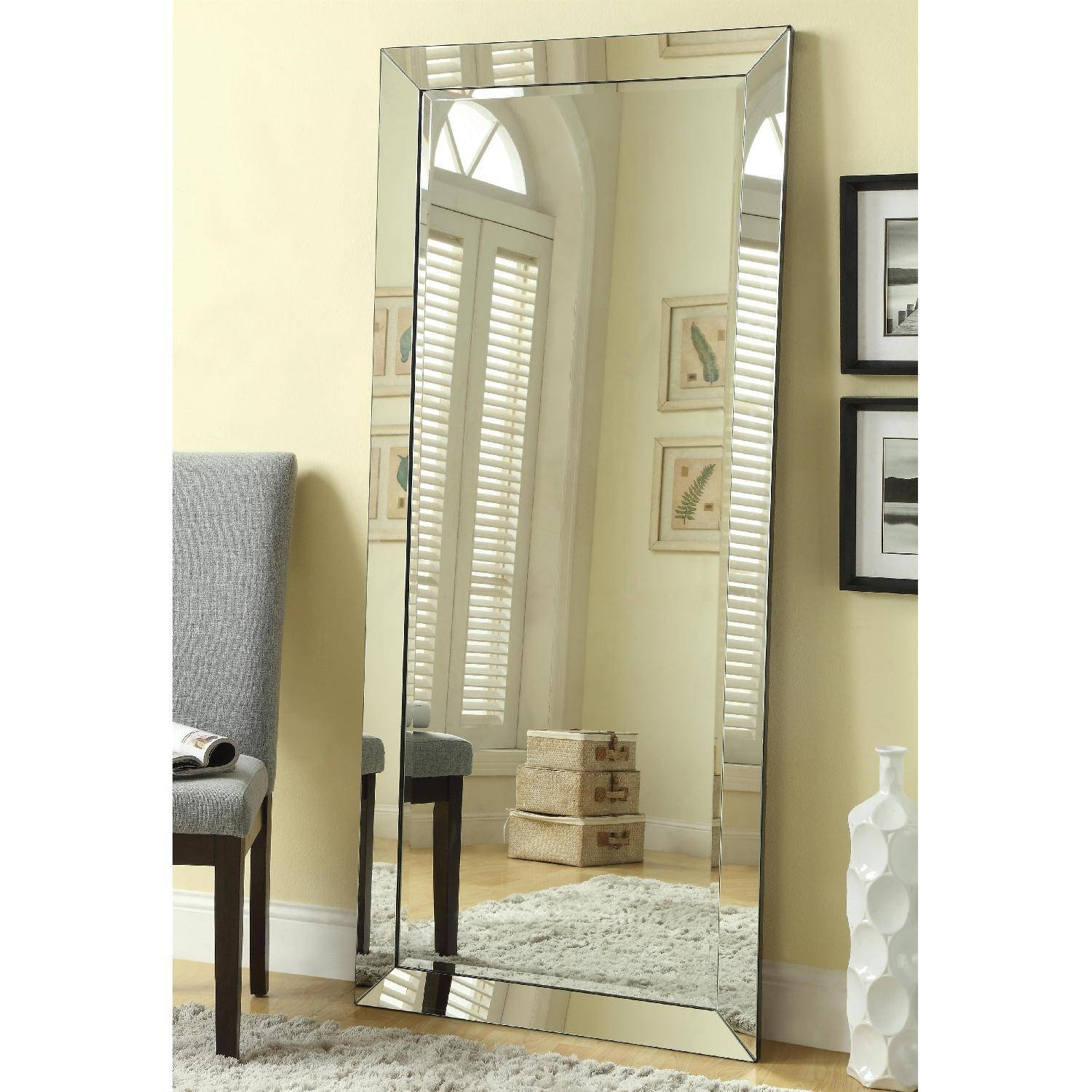 Bedroom Furniture : Rectangle Mirror Frameless Bathroom Mirror for Shabby Chic Floor Mirrors (Image 3 of 25)