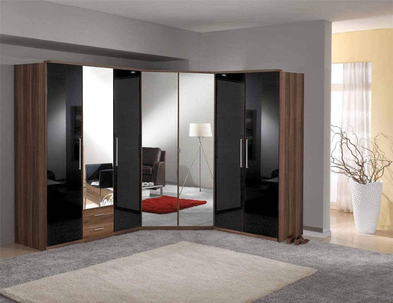 Bedroom Furniture Sets : Contemporary Wardrobe Armoire Assembled for Large Black Wardrobes (Image 4 of 15)