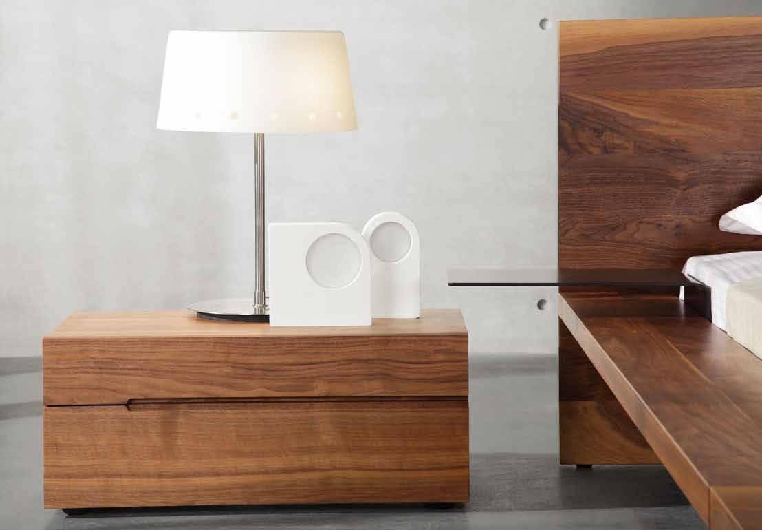 Bedroom Furniture Walnut Bed Set / Modern Bed Sideboard 2 Drawers regarding Black and Walnut Sideboards (Image 3 of 30)