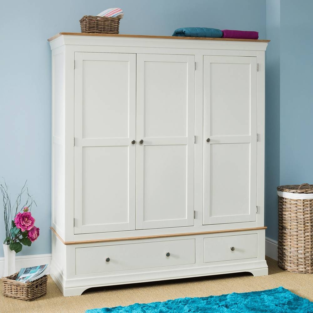 Bedroom Furniture - Wardrobes regarding Cream Triple Wardrobes (Image 1 of 15)