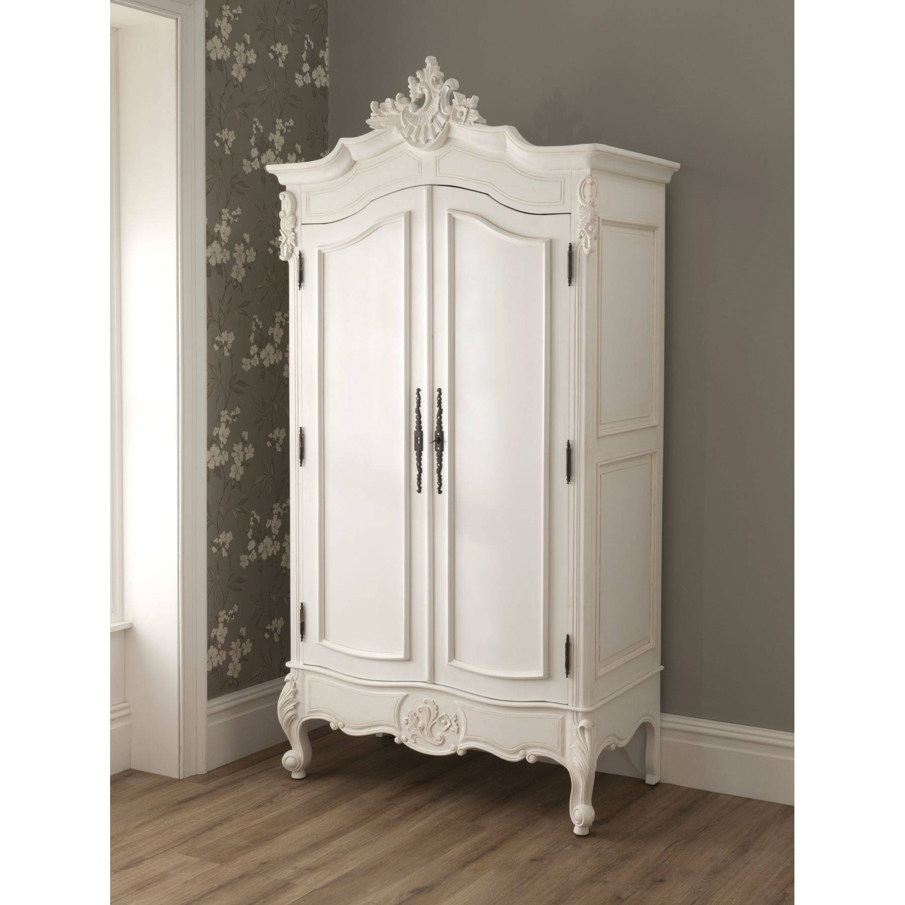 Bedroom Furniture : White Wooden Wardrobe Cabinet Small Classic with Vintage Style Wardrobes (Image 6 of 15)