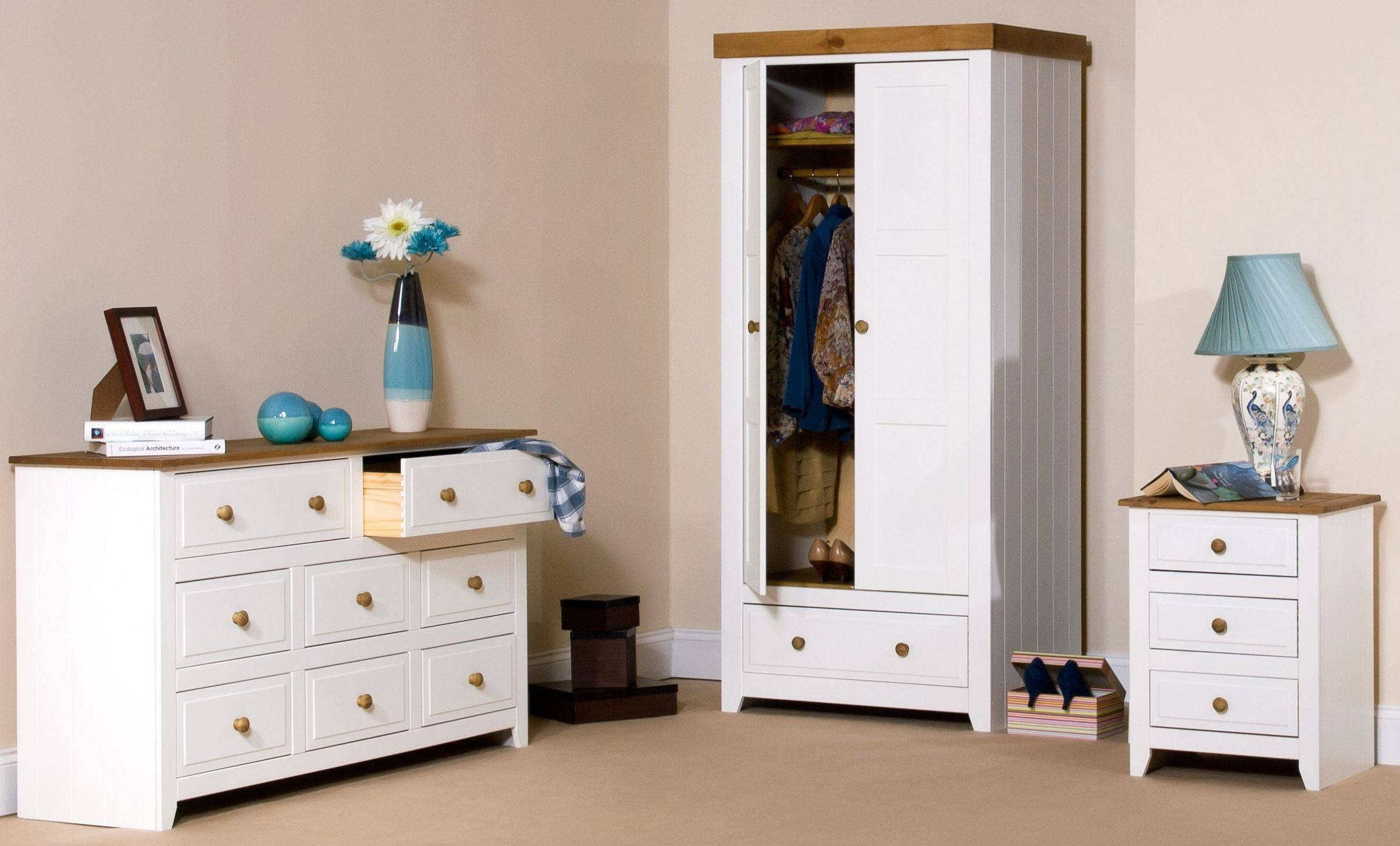 Bedroom Ideas. White Stained Oak Wood Wardrobe With Drawer pertaining to White Wood Wardrobes With Drawers (Image 2 of 15)