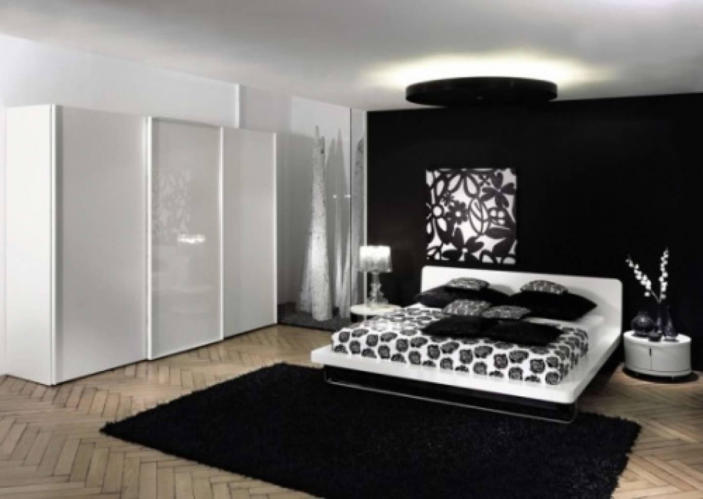 Bedroom : Large Black White Bedroom Decor With Black Fluffy Rug intended for Large Black Wardrobes (Image 2 of 15)