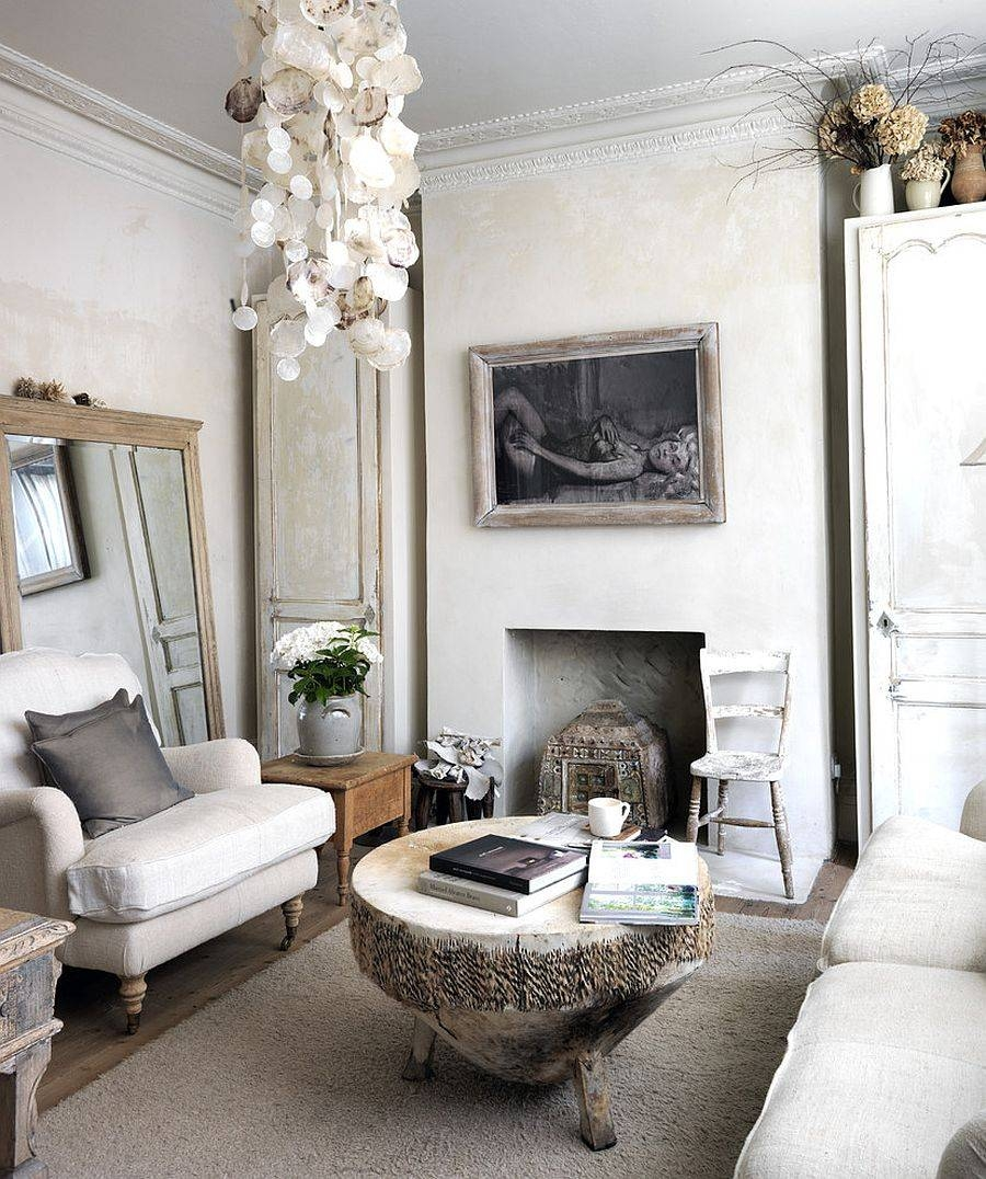 Bedroom : New Pure White Shabby Chic Interior Fur Sofa Slipcover With Regard To Shabby Chic Window Mirrors (View 7 of 25)
