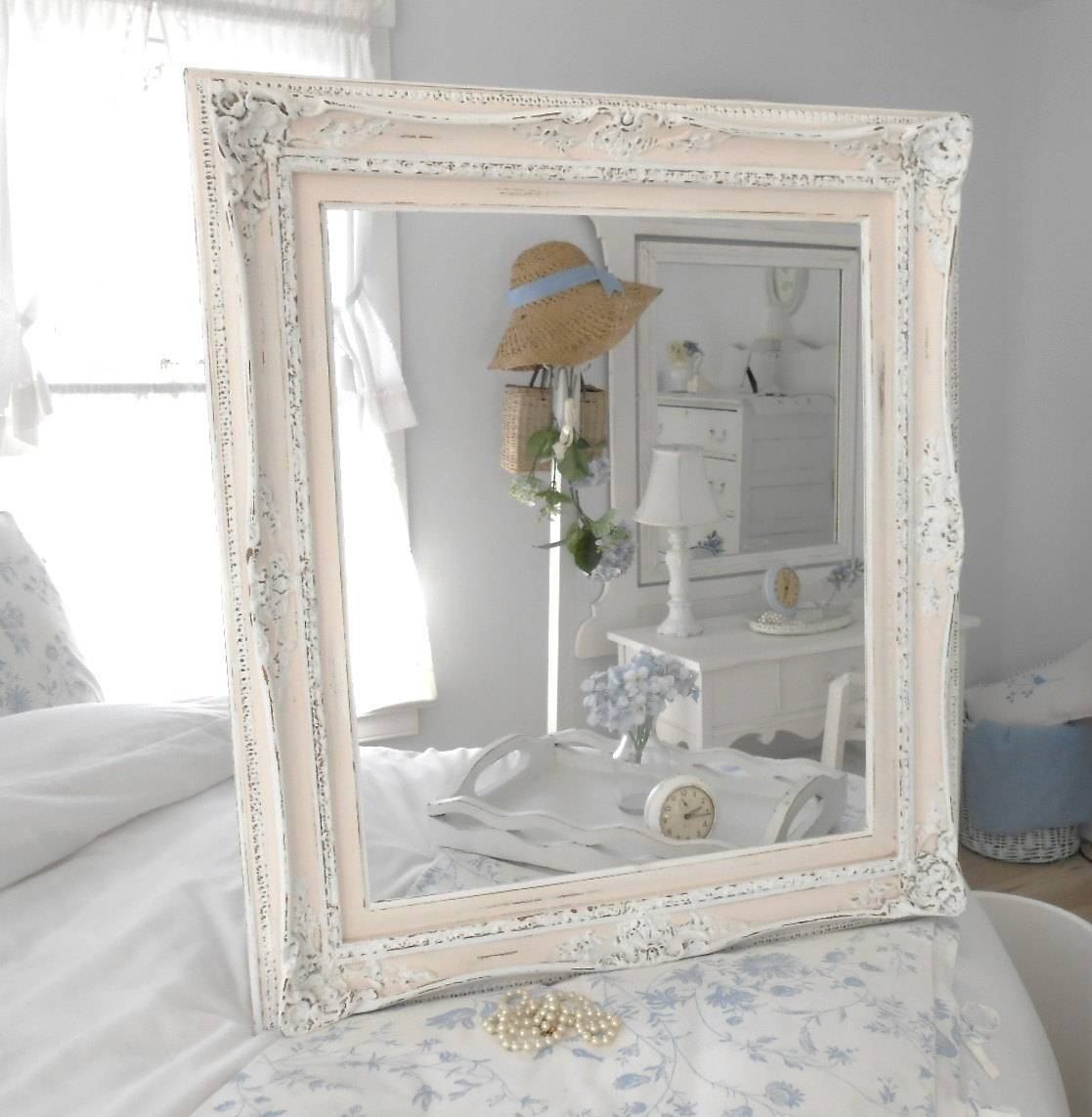 Bedroom: Shabby Chic Bedroom Ideas Large Bed Leather Bench Lienar regarding Large Shabby Chic Mirrors (Image 3 of 25)