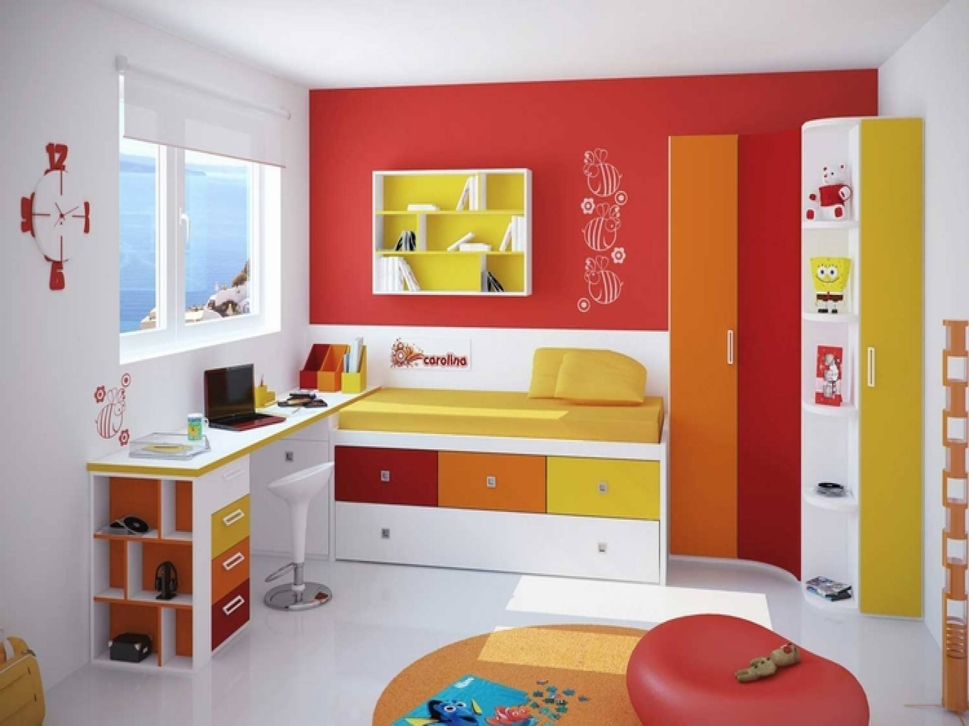 Bedroom : Wooden Single Bed Simple Kids Bedroom Design Ideas with regard to Childrens Bedroom Wardrobes (Image 13 of 30)