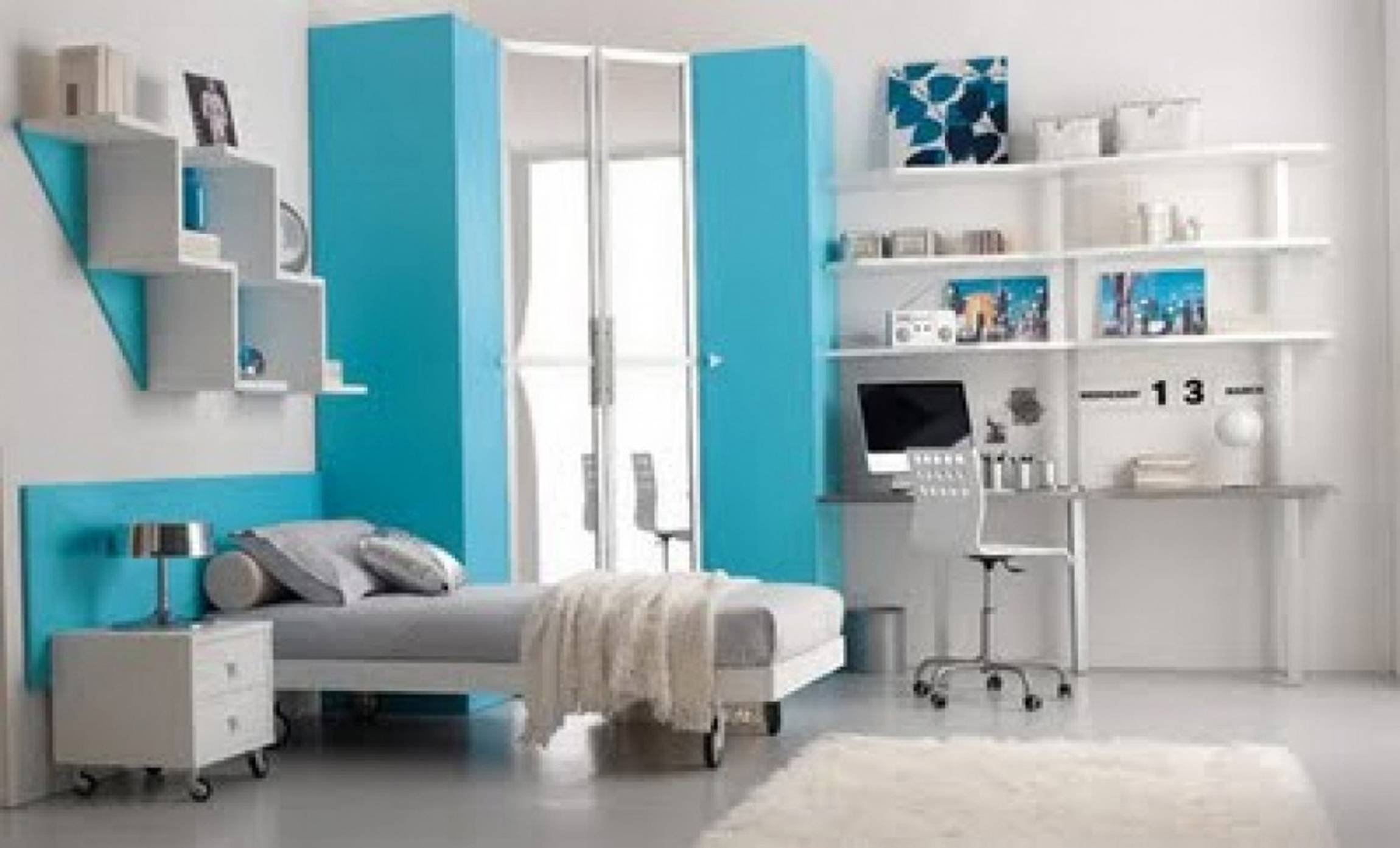 Beds Design Gray Wowzey Girls With Light Blue Corner Wardrobe intended for Curved Corner Wardrobe Doors (Image 4 of 30)