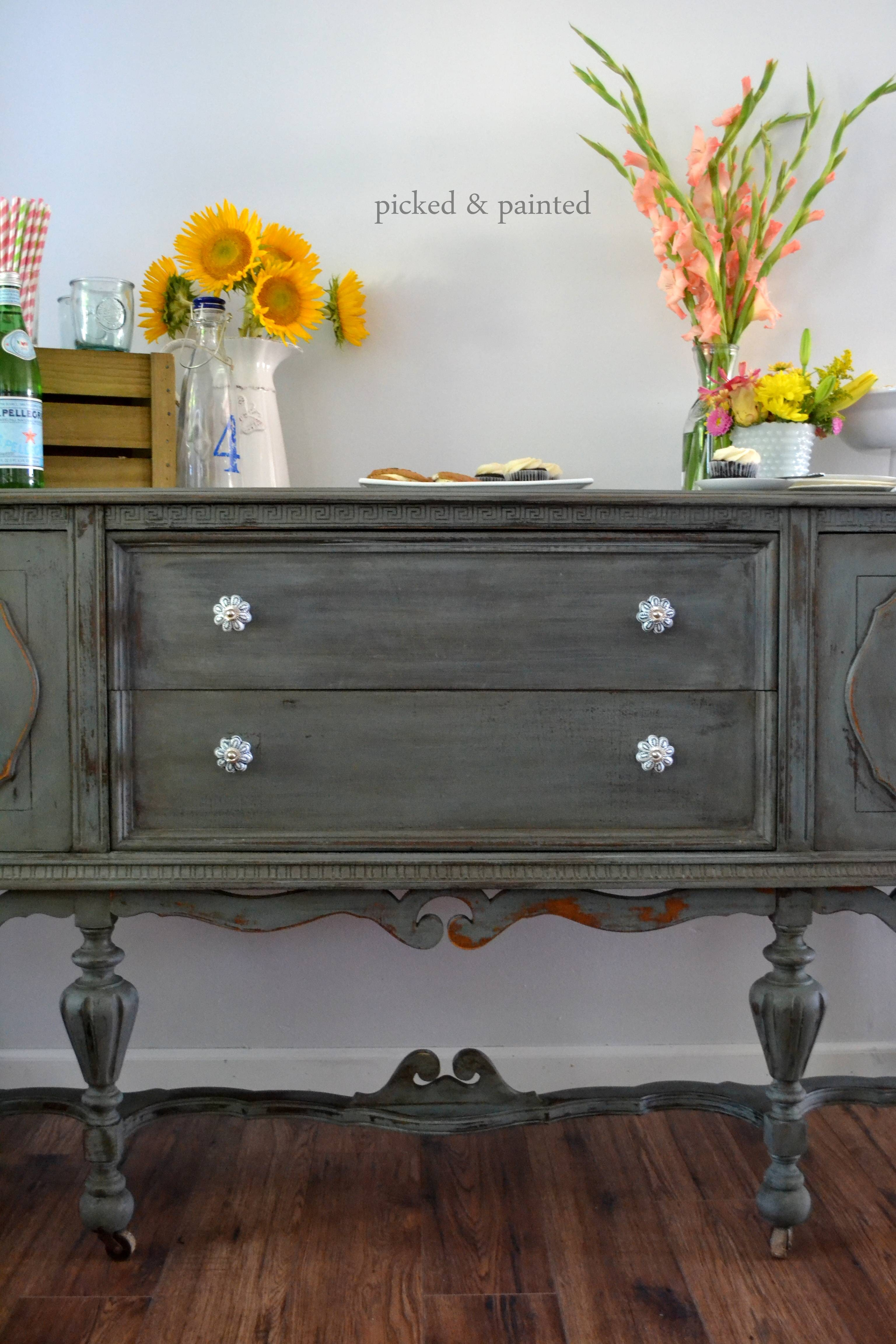 Before & After: Vintage Buffet | Stylish Patina with regard to White Distressed Finish Sideboards (Image 4 of 30)