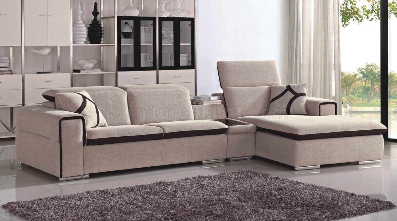 Beige & Chocolate Fabric Modern Sectional Sofa intended for Cloth Sectional Sofas (Image 3 of 30)