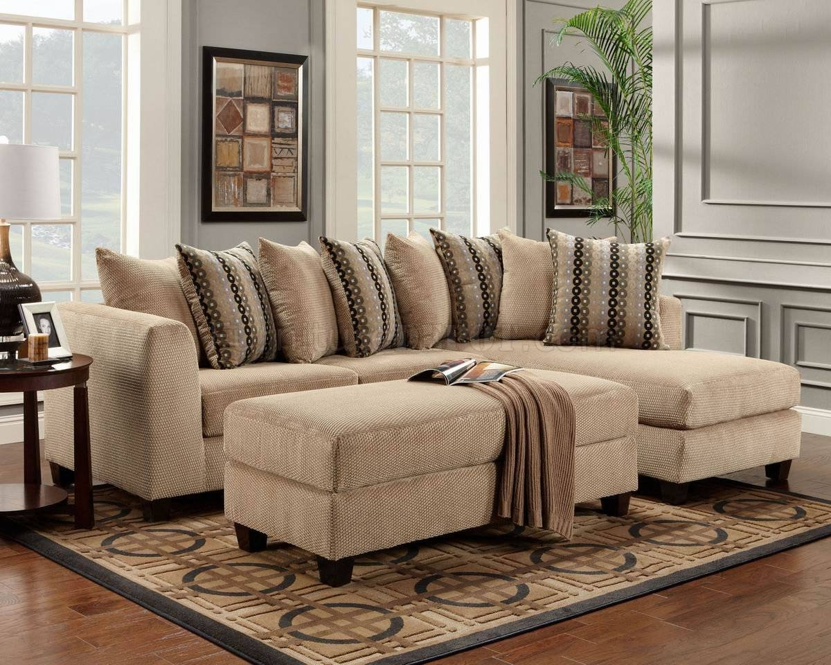 Beige Fabric Modern Elegant Sectional Sofa W/optional Ottoman throughout Elegant Sectional Sofas (Image 1 of 30)