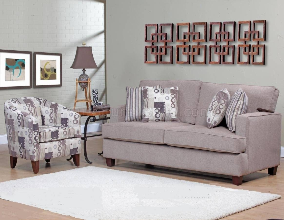 Beige Fabric Modern Sofa & Accent Chair Set W/options in Sofa and Accent Chair Set (Image 6 of 30)