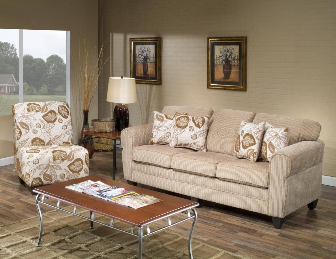 Beige Fabric Modern Sofa And Accent Chair Set W/options for Sofa and Chair Set (Image 5 of 30)