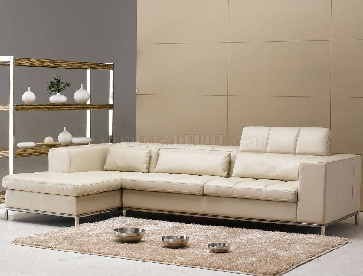 Beige Leather Modern Elegant Sectional Sofa W/metal Legs with regard to Elegant Sectional Sofas (Image 2 of 30)