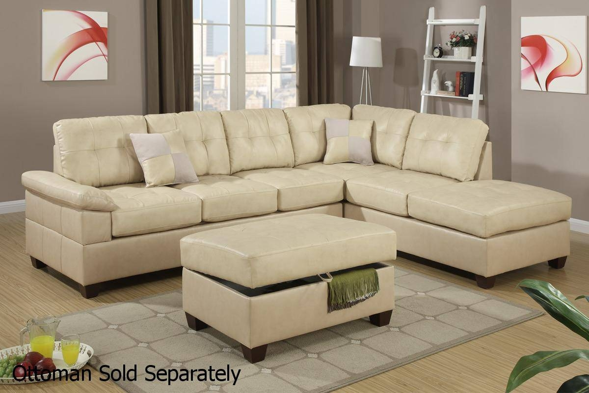 Beige Leather Sectional Sofa – Steal A Sofa Furniture Outlet Los In Sectional Sofa With 2 Chaises (View 7 of 30)
