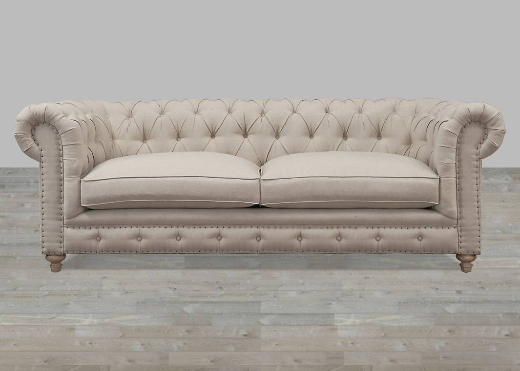 Beige Linen Button Tufted Sofa inside Tufted Linen Sofas (Image 2 of 30)