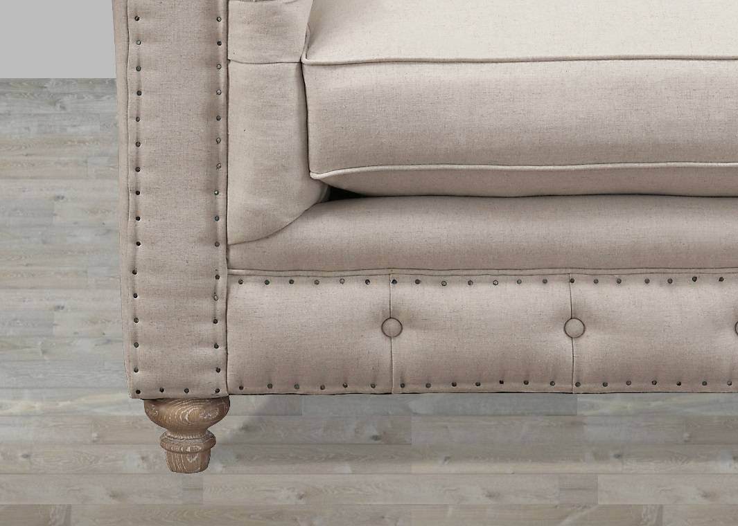 Beige Linen Button Tufted Sofa throughout Tufted Linen Sofas (Image 3 of 30)