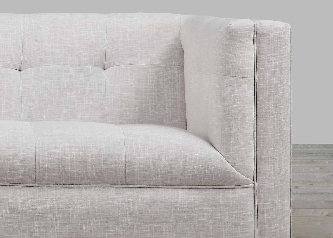 Beige Linen Sofa Button Tufted pertaining to Tufted Linen Sofas (Image 4 of 30)