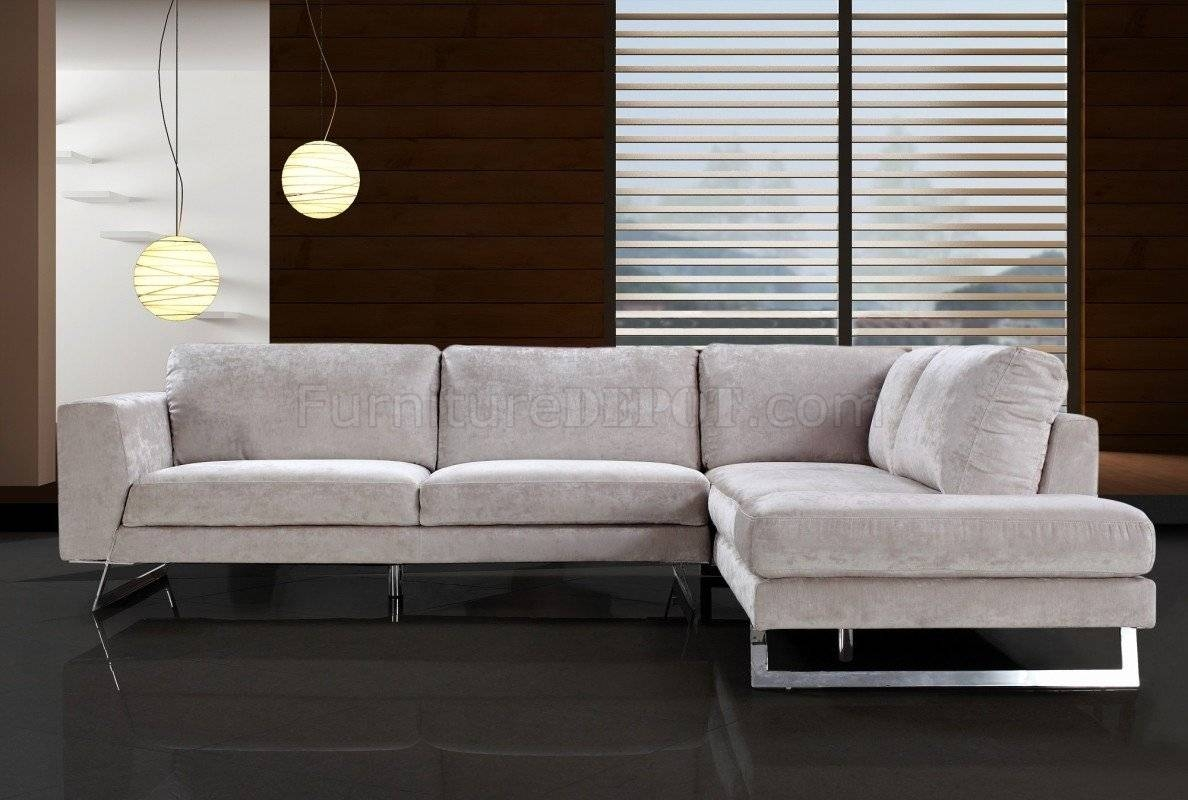 Beige Microfiber Modern Sectional Sofa W/chrome Metal Legs with Modern Microfiber Sectional Sofa (Image 4 of 30)