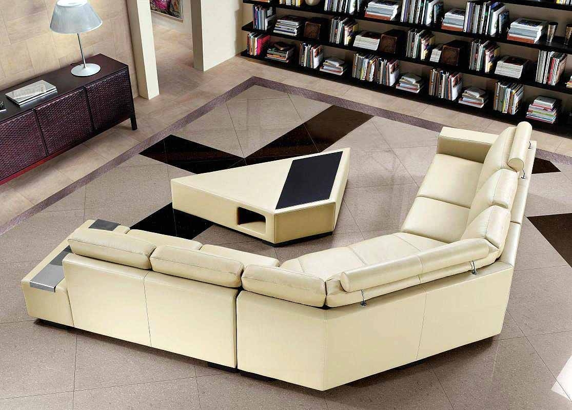 Beige Sectional Sofa With Coffee Table | Leather Sectionals intended for Coffee Table For Sectional Sofa (Image 5 of 30)