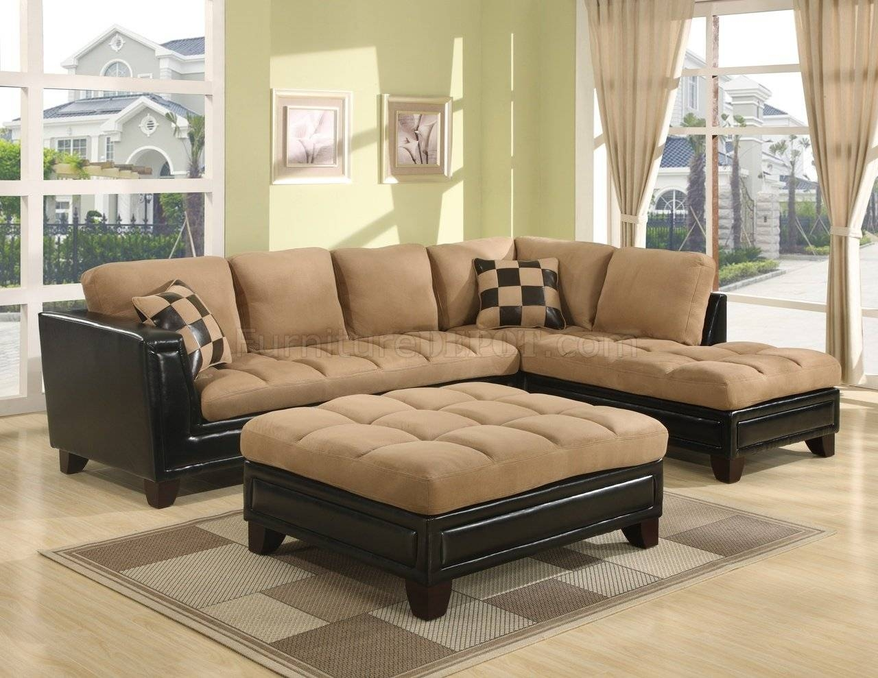 Beige Suede Two-Tone Modern Sectional Sofa W/bycast Base throughout Leather and Suede Sectional Sofa (Image 3 of 25)