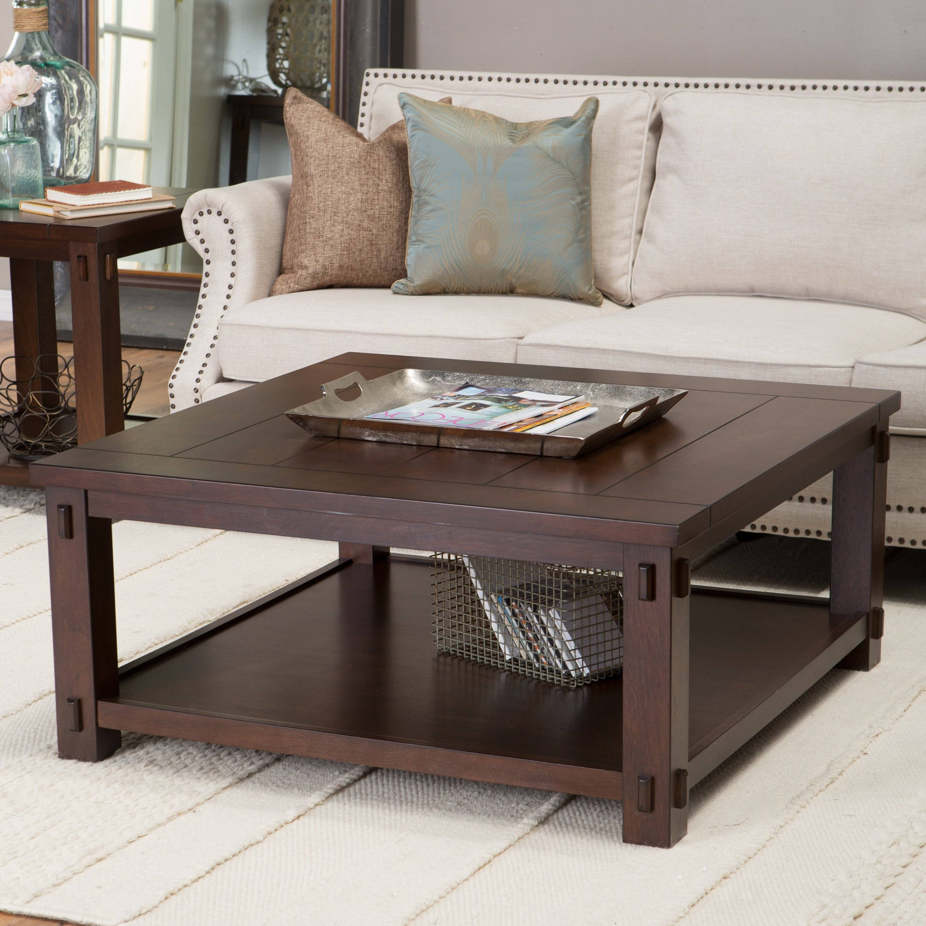 Belham Living Bartlett Square End Table | Hayneedle throughout Square Dark Wood Coffee Tables (Image 1 of 30)