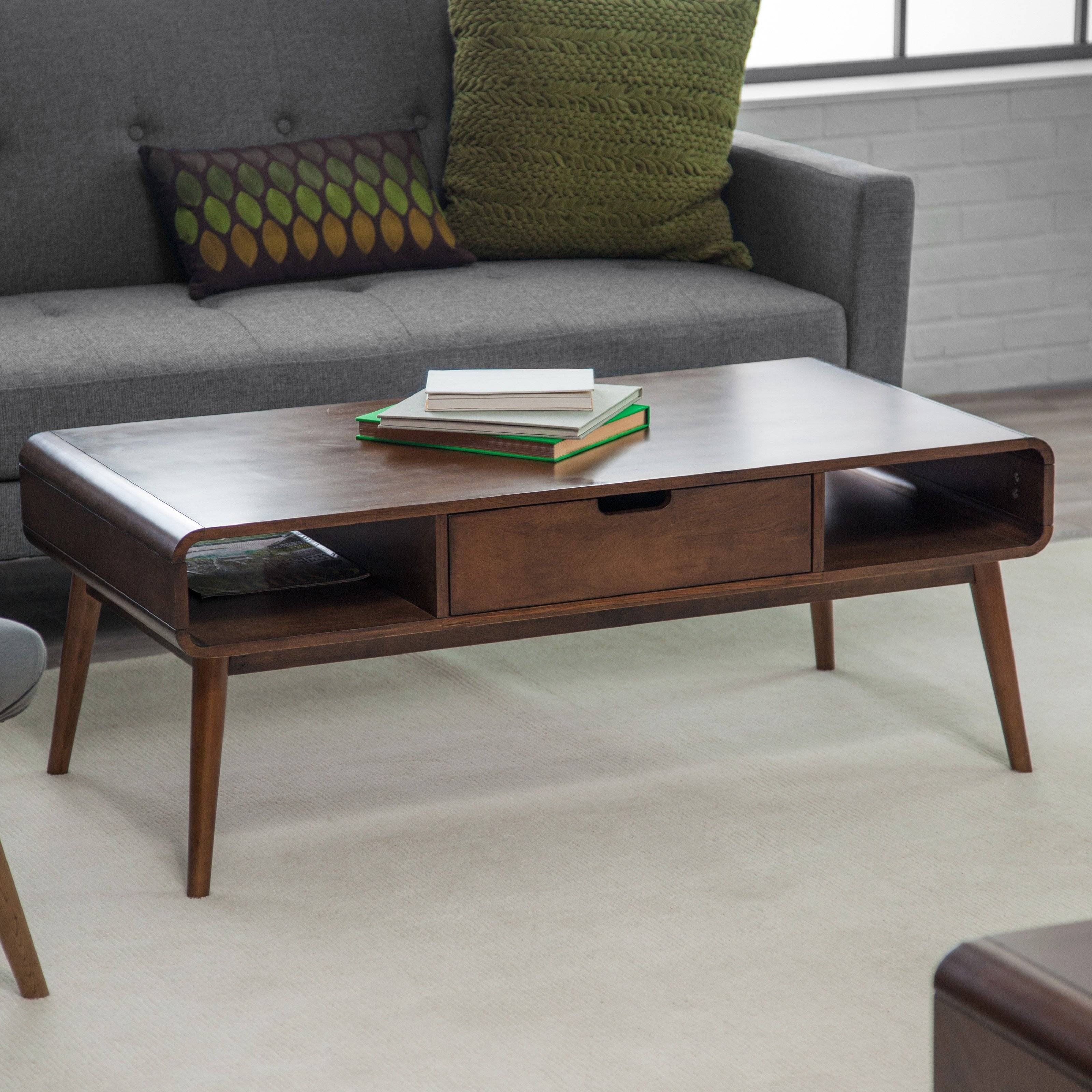 Belham Living Carter Mid Century Modern Coffee Table | Hayneedle throughout Rounded Corner Coffee Tables (Image 6 of 30)