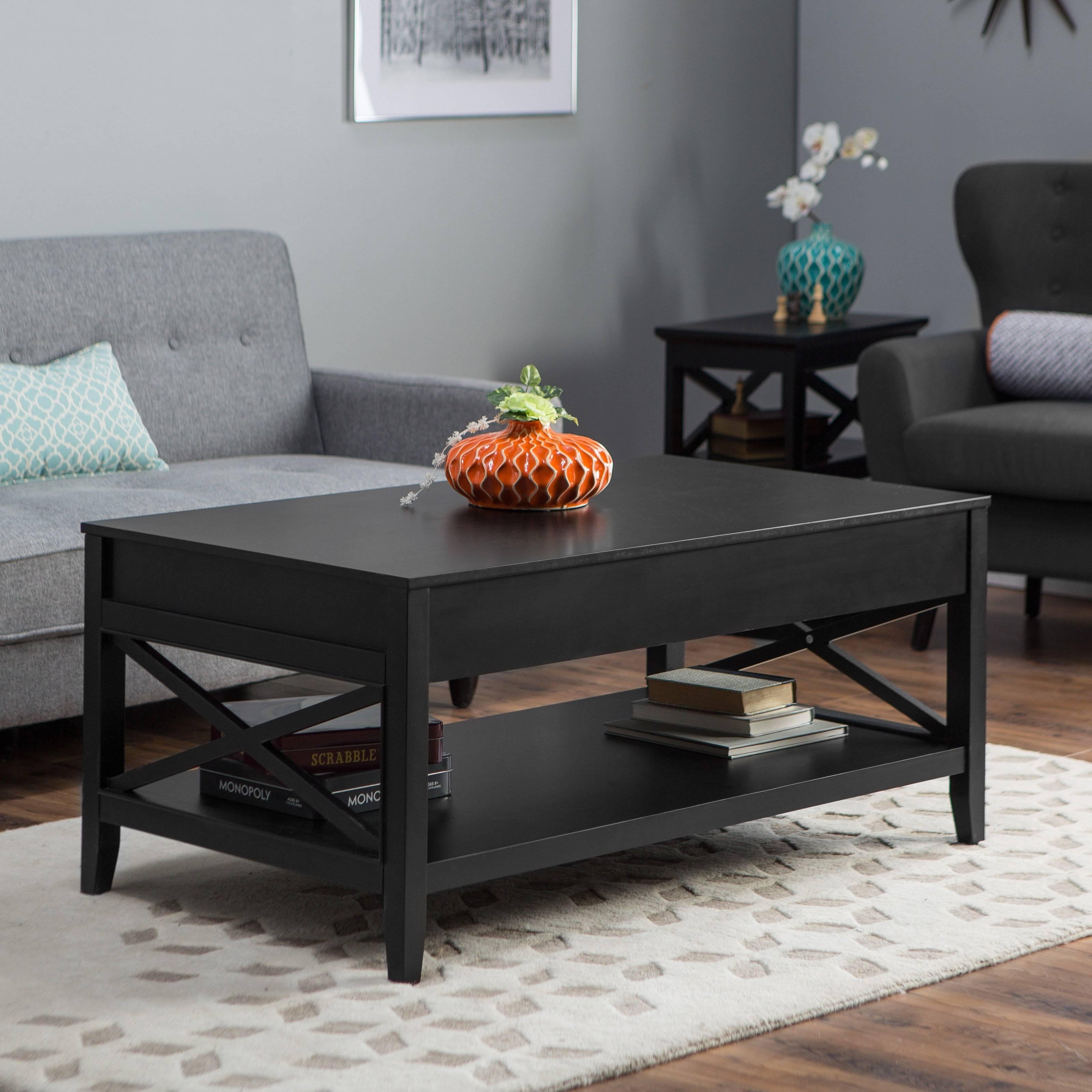 Belham Living Hampton Storage And Lift Top Coffee Table | Hayneedle regarding Black Coffee Tables (Image 3 of 30)