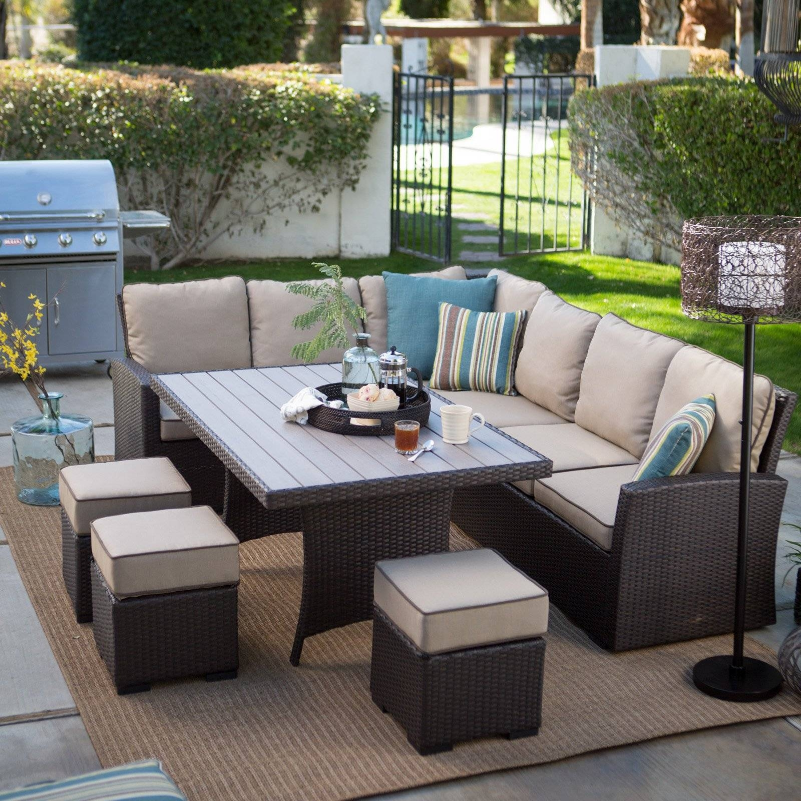Belham Living Monticello All-Weather Wicker Sofa Sectional Patio inside Sofa Table Chairs (Image 2 of 30)