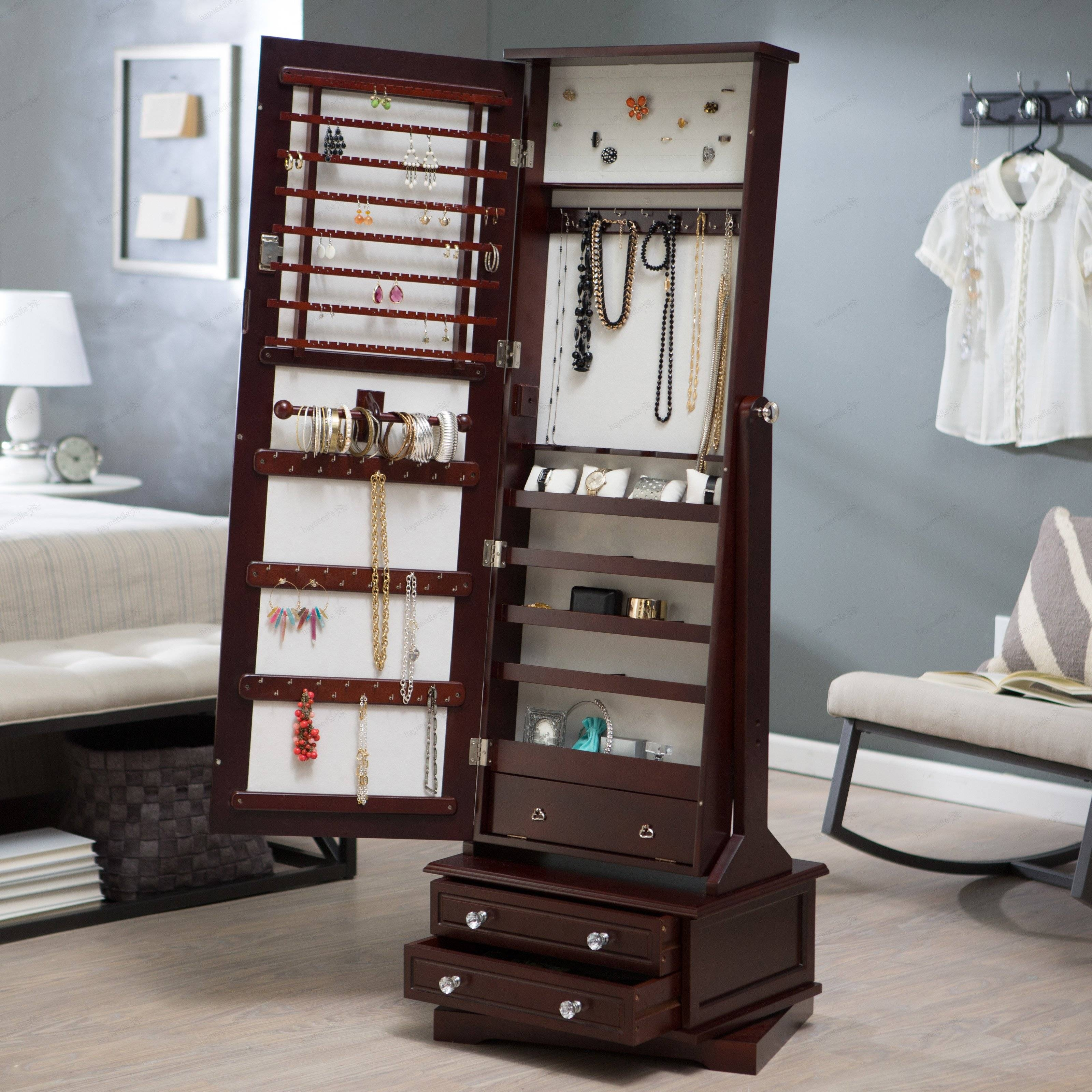 Belham Living Swivel Cheval Mirror Jewelry Armoire | Hayneedle with regard to Free Standing Mirrors With Drawer (Image 5 of 25)
