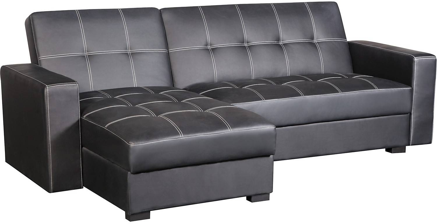 Belize 2-Piece Storage Futon With Chaise - Black | The Brick throughout The Brick Leather Sofa (Image 3 of 30)