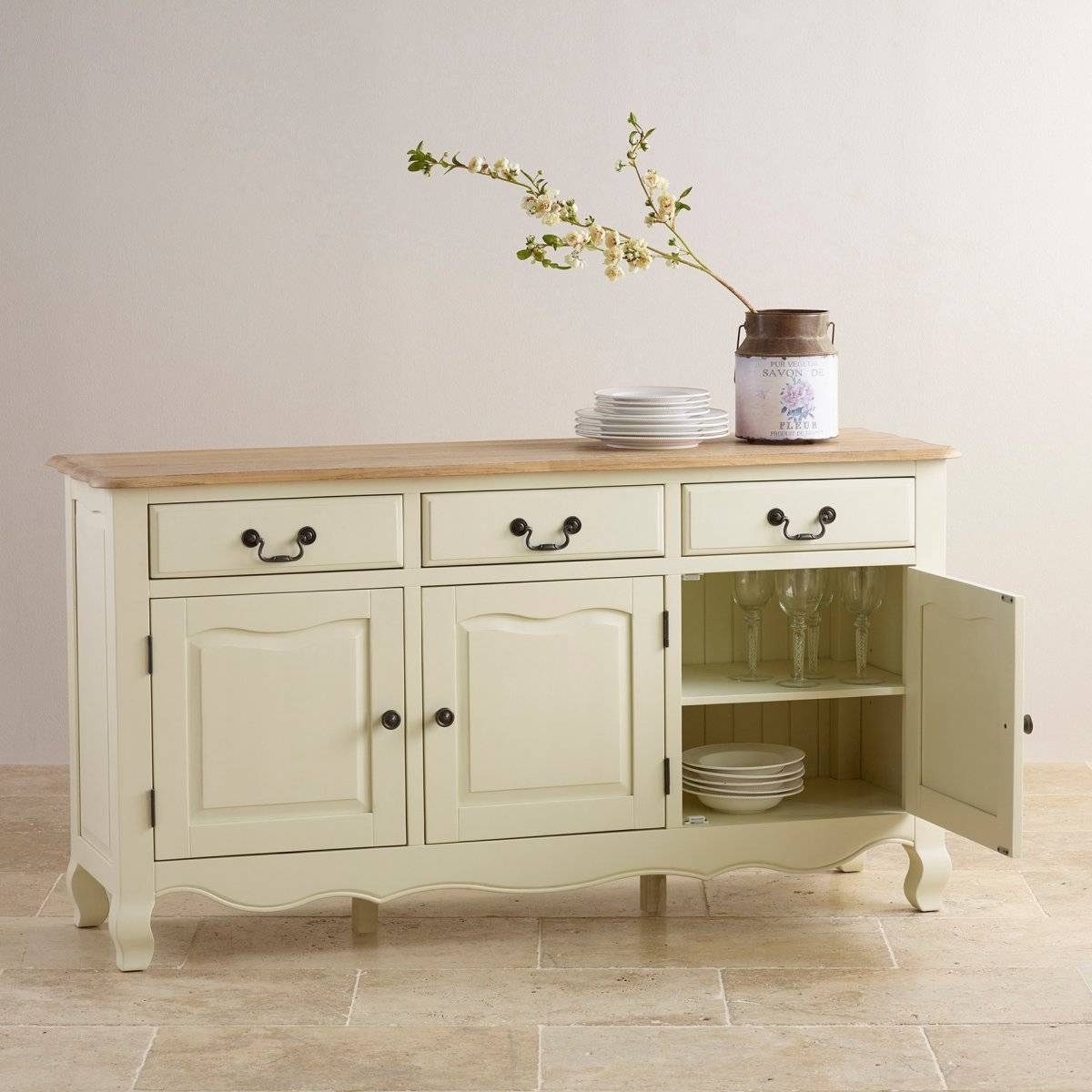 Bella Brushed Oak Painted Large Sideboardoak Furniture Land for Cream Sideboards (Image 1 of 30)