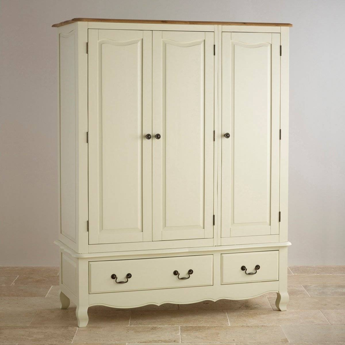 Bella Painted Triple Wardrobe In Brushed Oak | Oak Furniture Land pertaining to Cream Triple Wardrobes (Image 2 of 15)