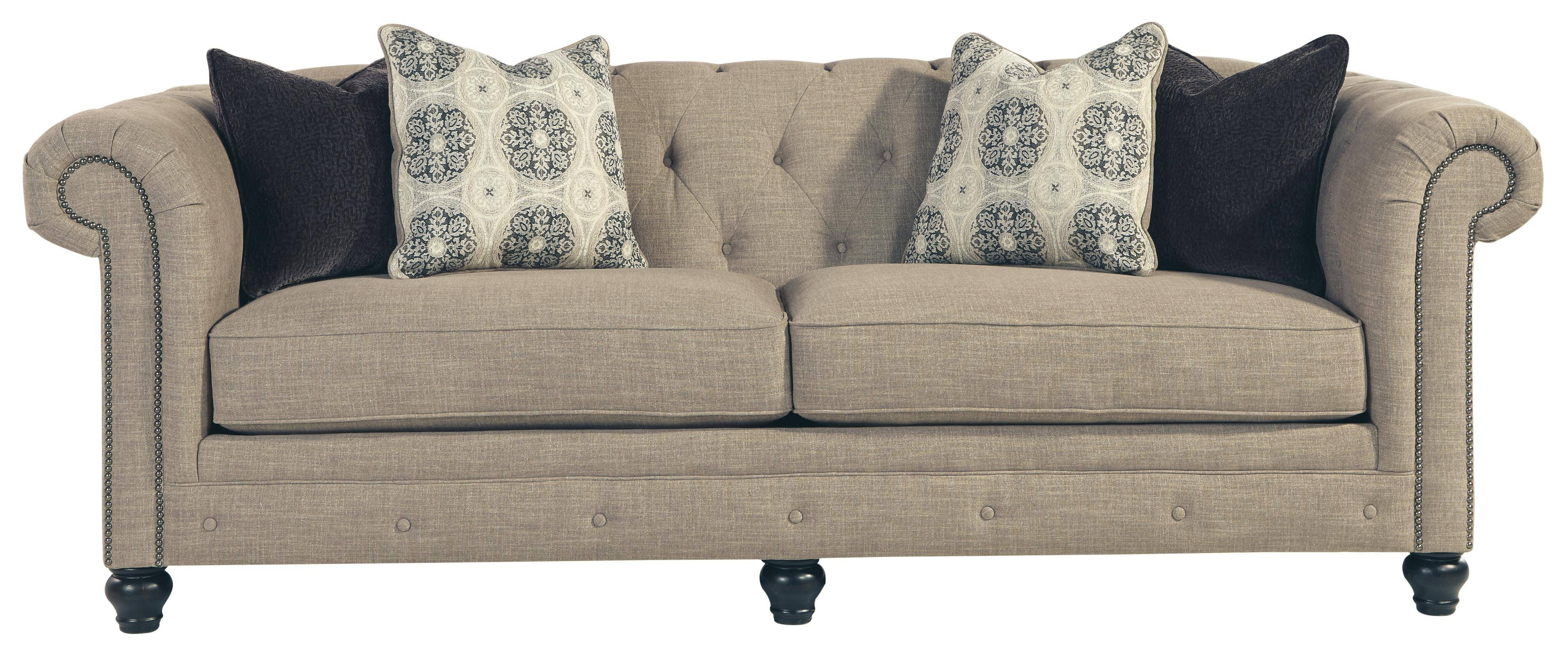 Benchcraft Azlyn Transitional Chesterfield Sofa With Linen Blend With Ashley Tufted Sofa (Image 7 of 30)