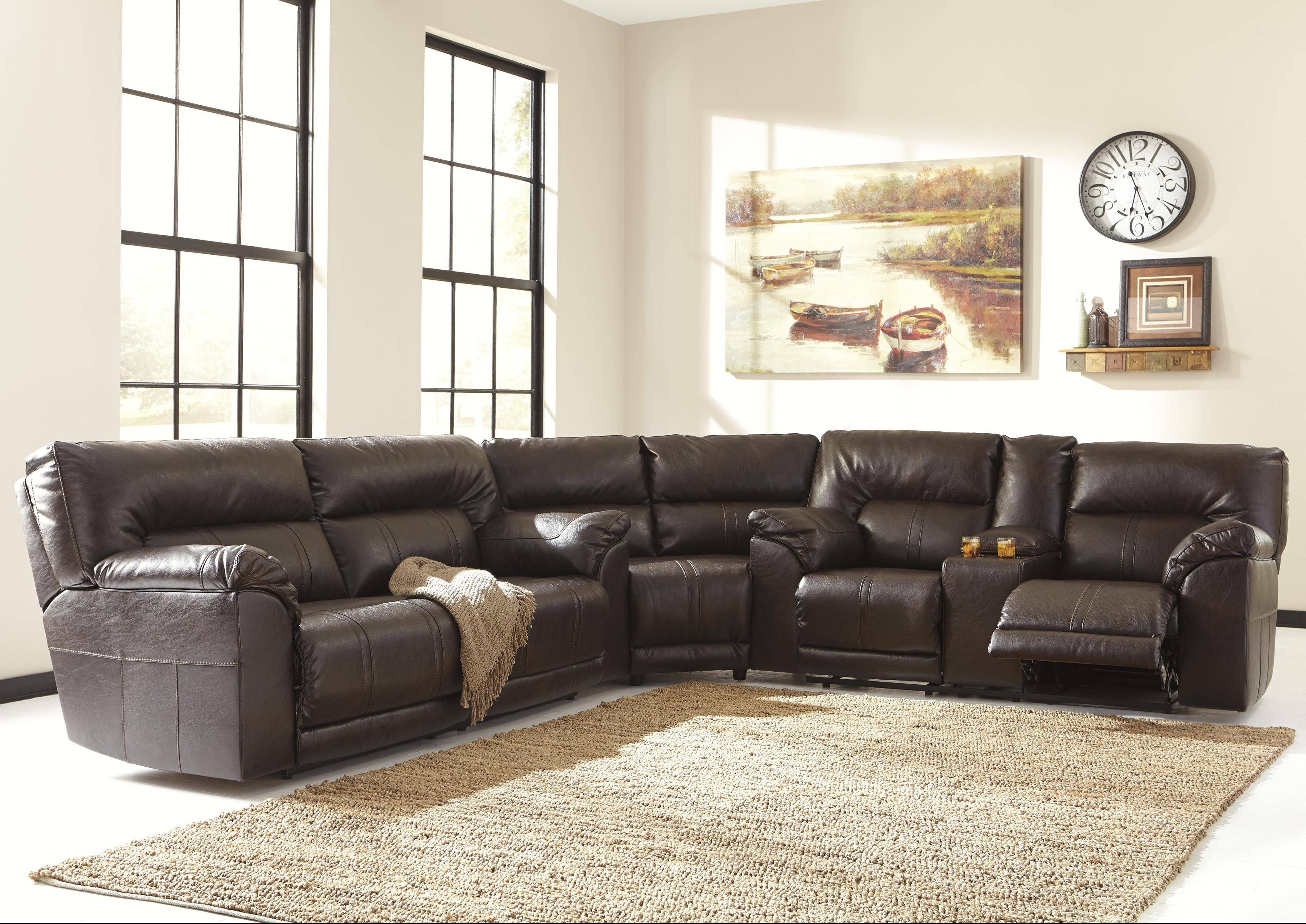 Benchcraft Barrettsville Durablend® 3-Piece Reclining Sectional with regard to Recliner Sectional Sofas (Image 3 of 30)