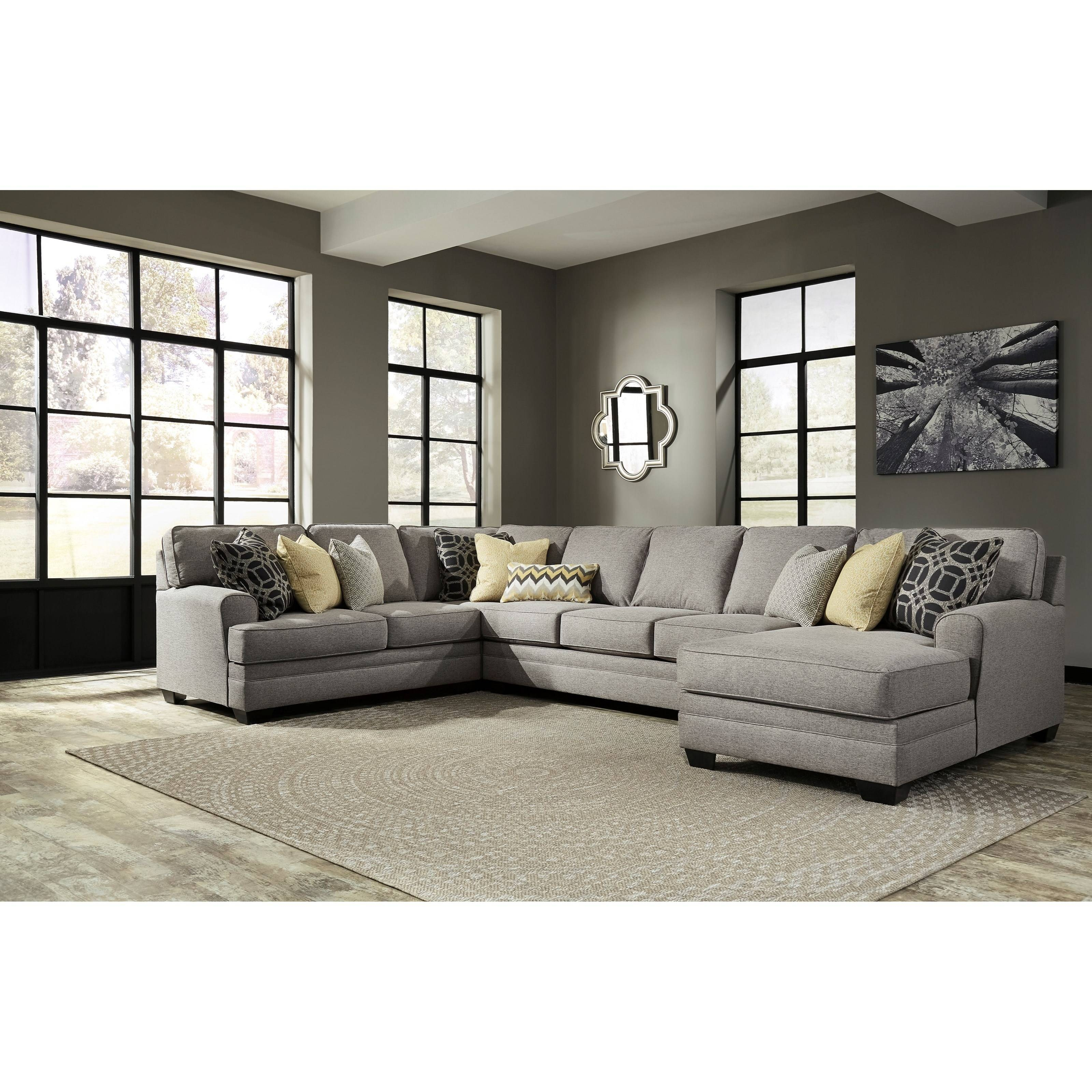Benchcraft Cresson Contemporary 4-Piece Sectional With Chaise with Armless Sectional Sofa (Image 2 of 30)