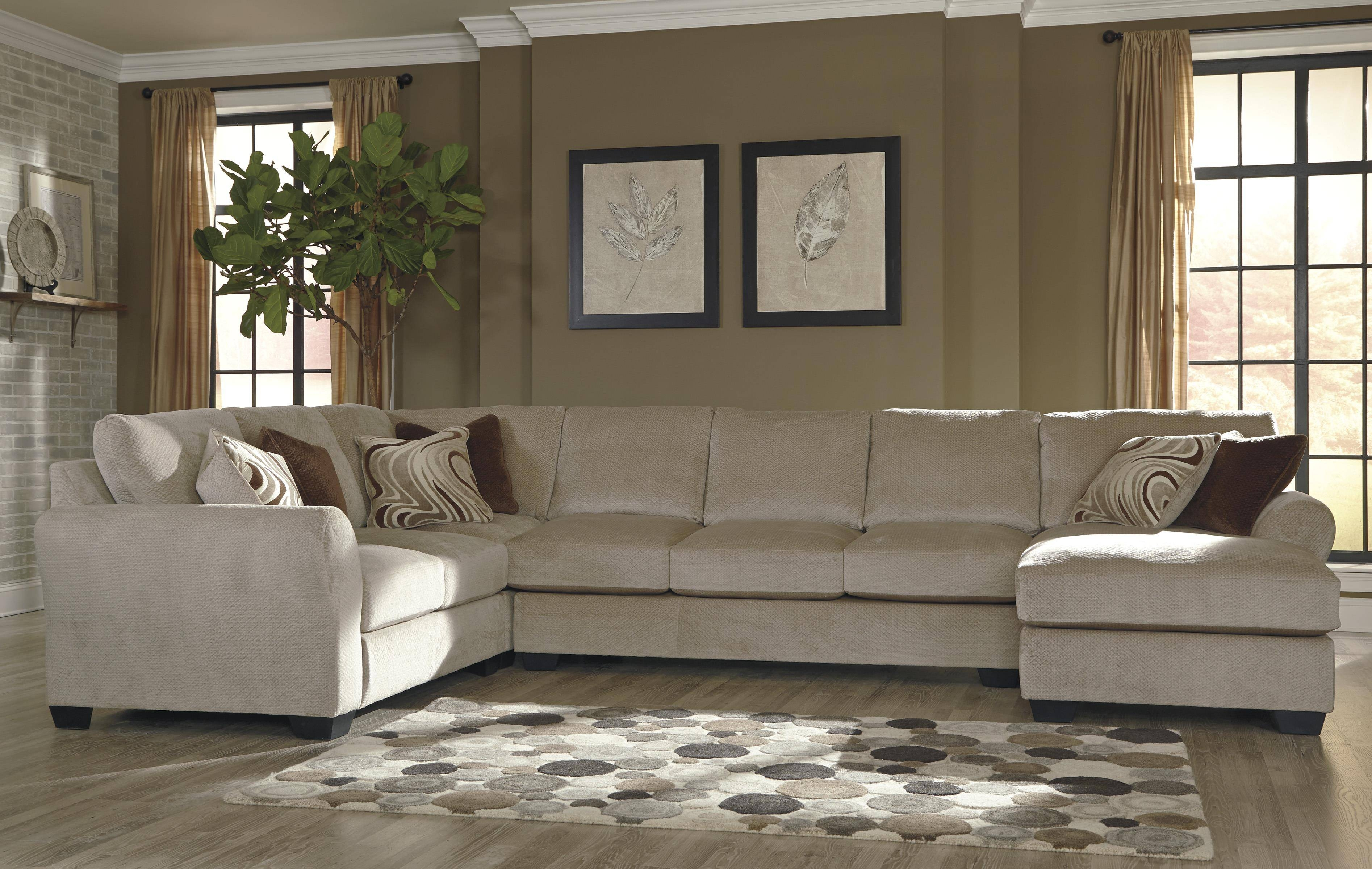 Benchcraft Hazes 4-Piece Sectional W/ Armless Sofa & Right Chaise throughout Armless Sectional Sofa (Image 3 of 30)