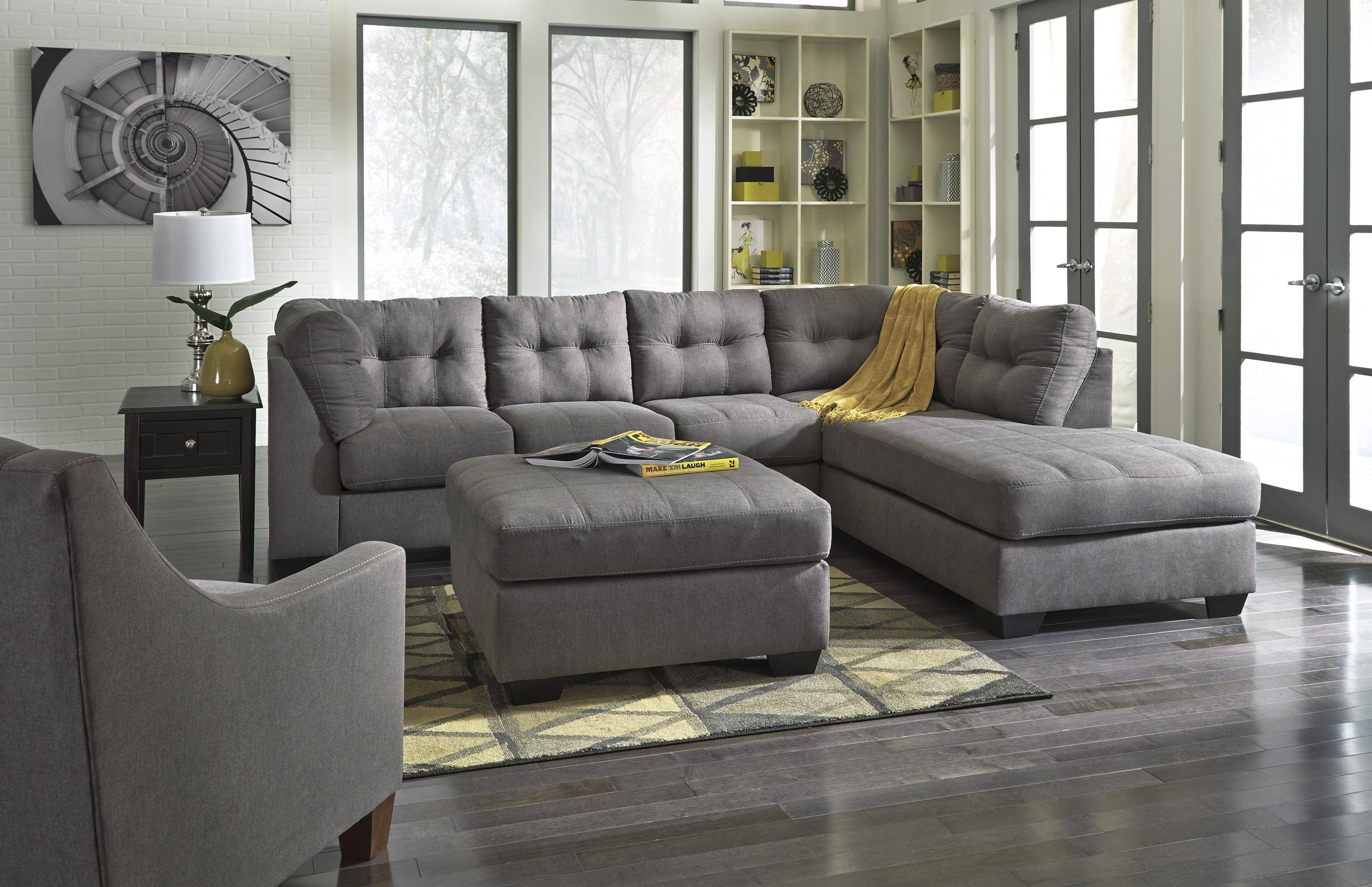Benchcraft Maier – Charcoal 2 Piece Sectional W/ Sleeper Sofa Intended For Sectional Sofa With 2 Chaises (View 9 of 30)