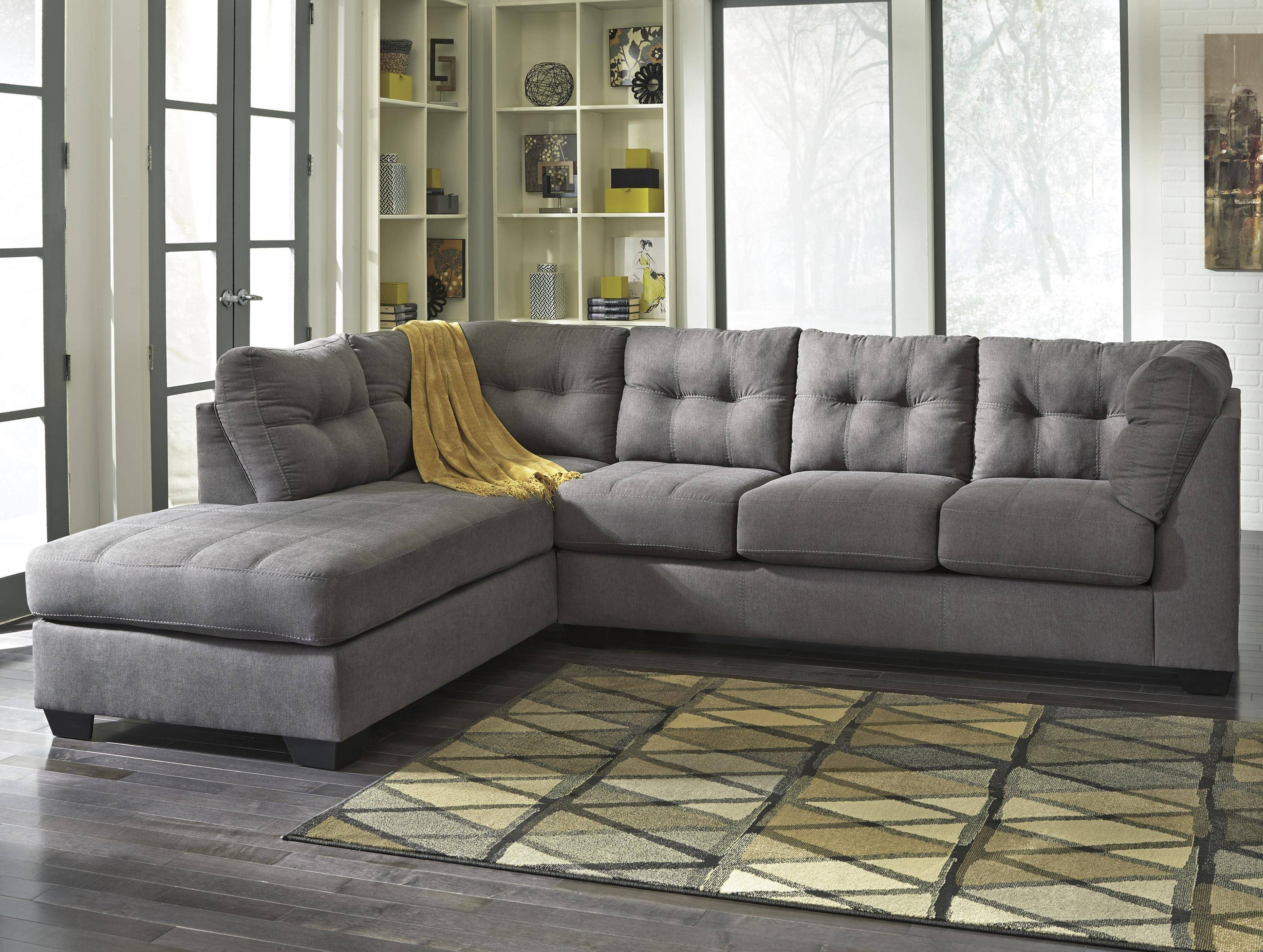 Benchcraft Maier - Charcoal 2-Piece Sectional W/ Sleeper Sofa within Sectional Sofas With Sleeper and Chaise (Image 4 of 30)