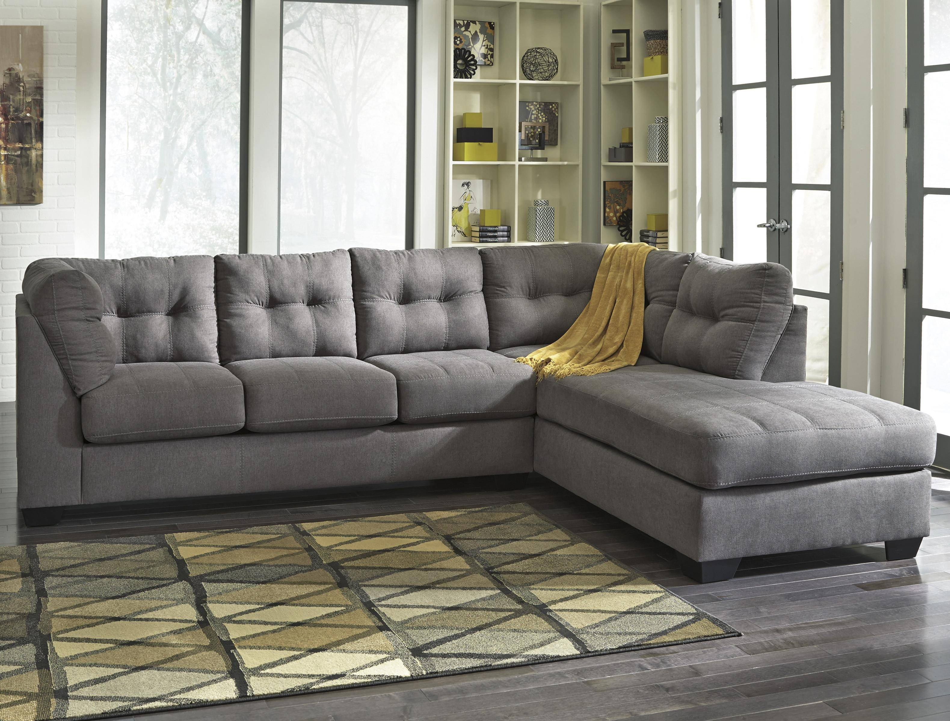 Benchcraft Maier – Charcoal 2 Piece Sectional With Right Chaise In Sectional Sofa With 2 Chaises (View 10 of 30)
